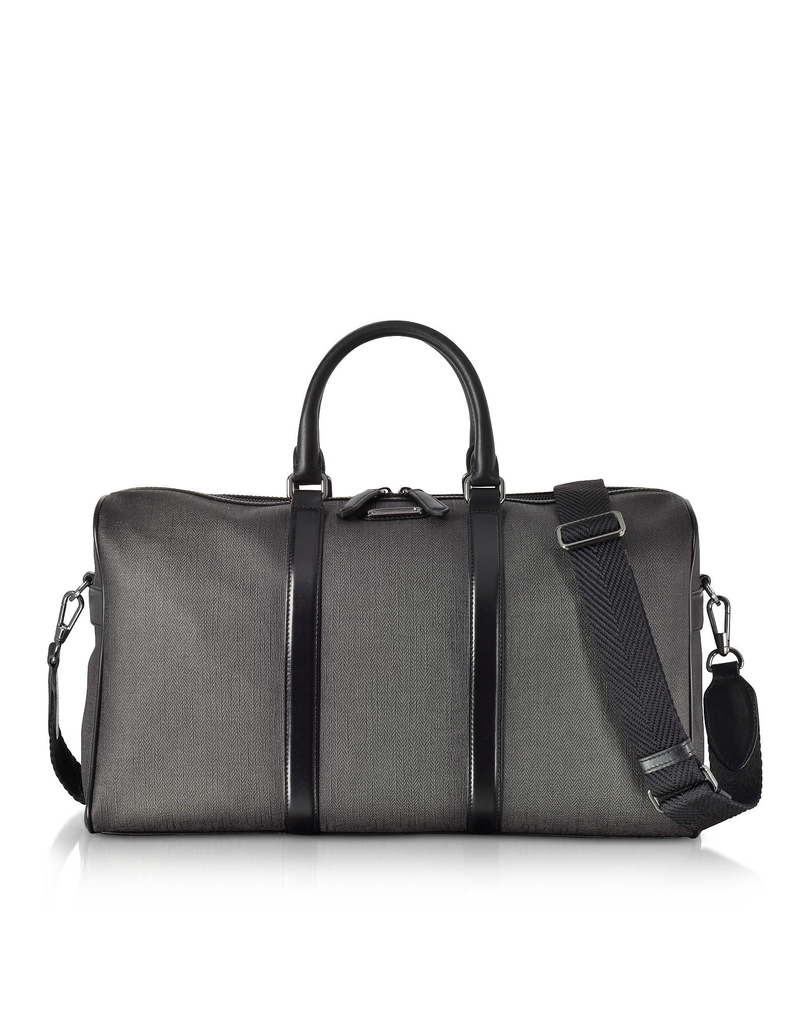 Ermenegildo Zegna Travel Bags, Slate Coated Canvas and Leather Men's Weekender Bag