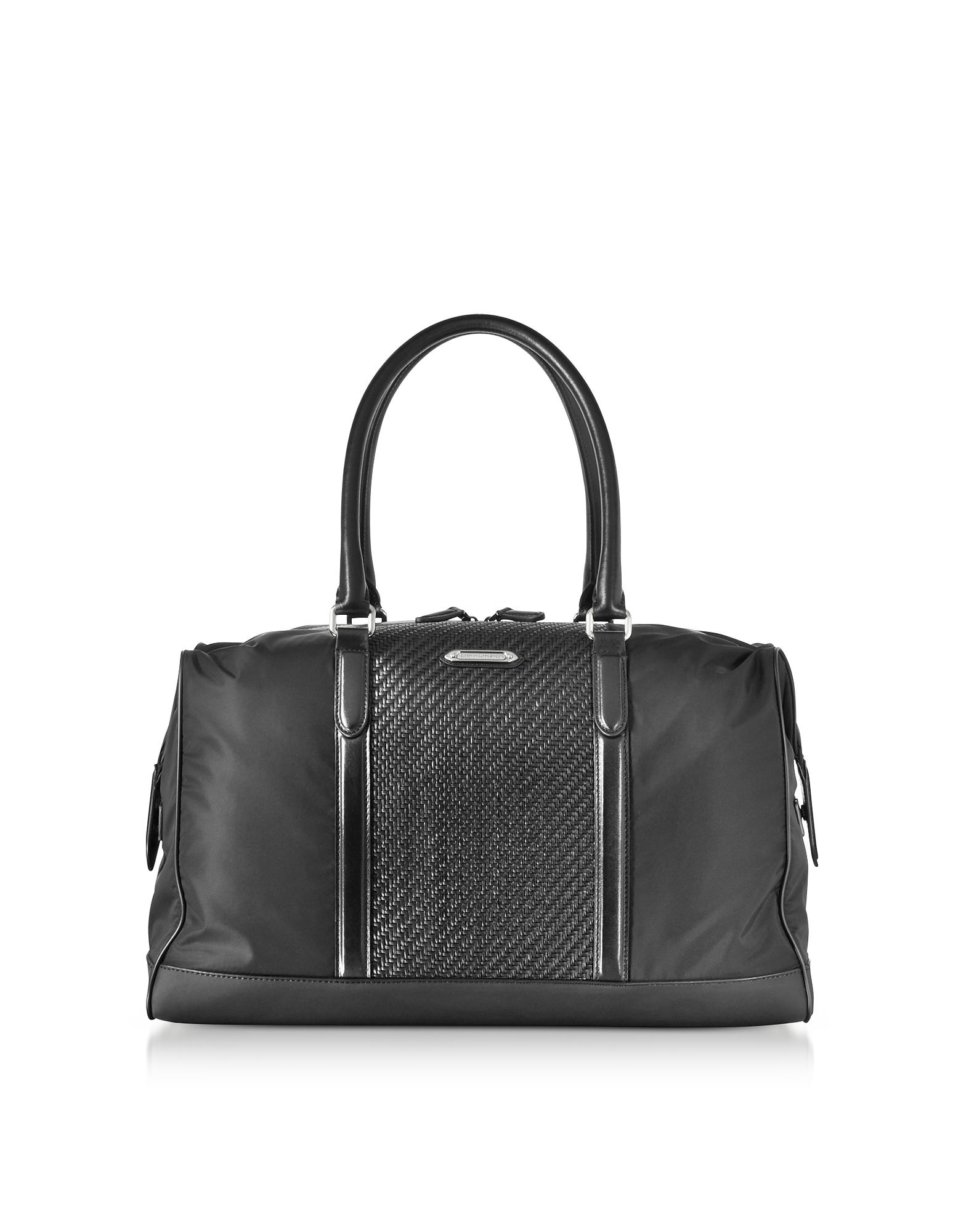 Ermenegildo Zegna Travel Bags, Black Nylon and Woven Leather Holdall