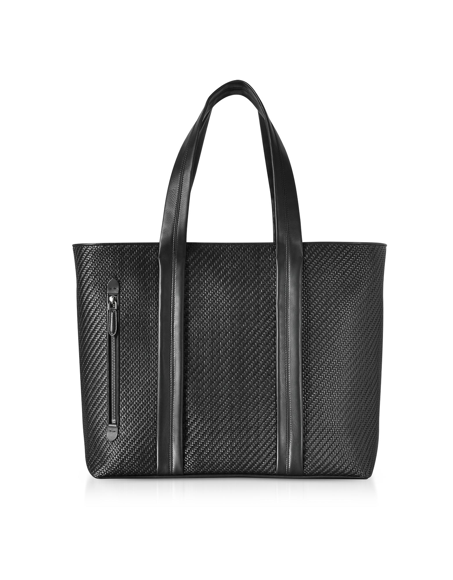 Ermenegildo Zegna Men's Bags, Black Pelle Tessuta Large Tote Bag