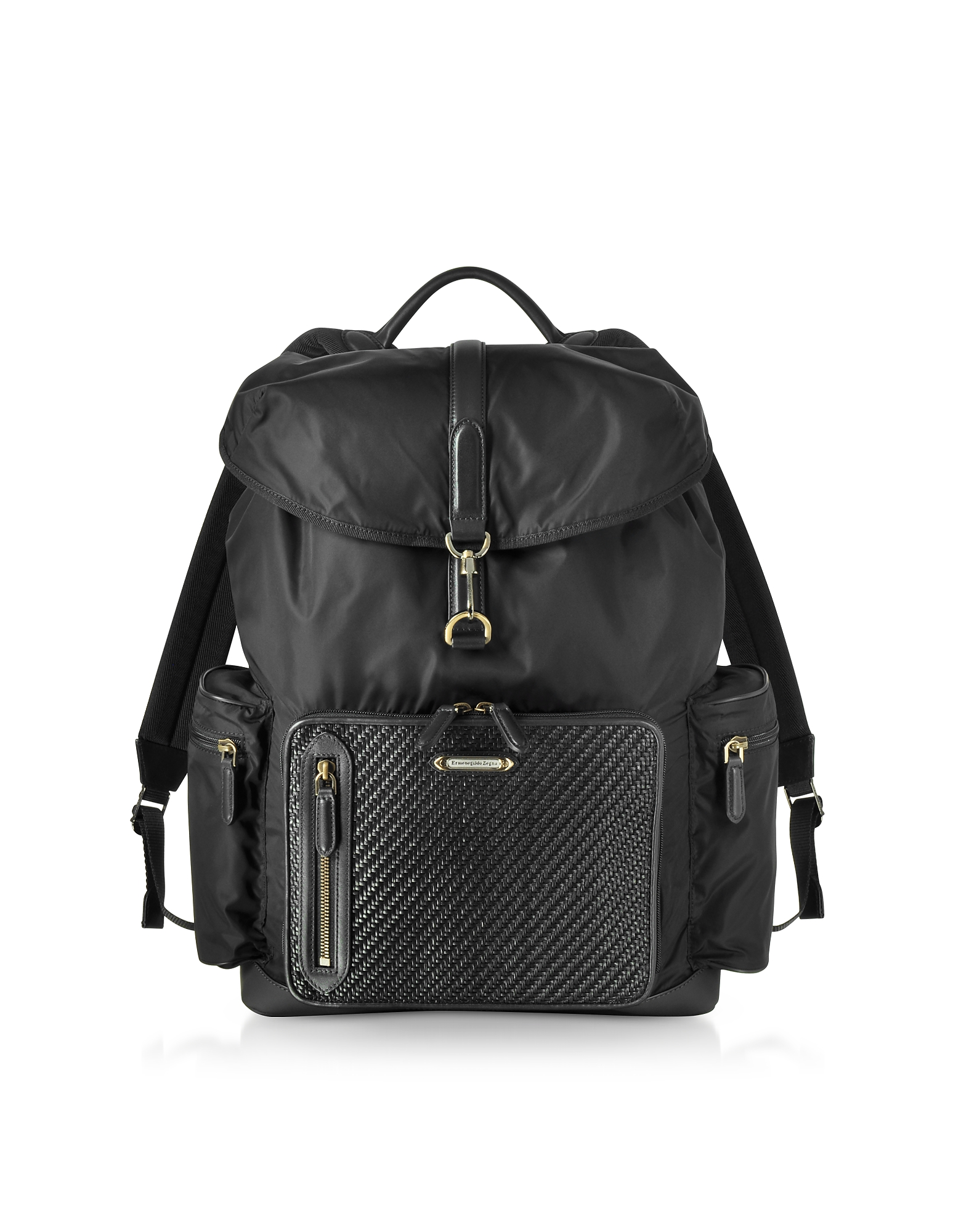 Ermenegildo Zegna Backpacks, Black Nylon and Woven Leather Backpack