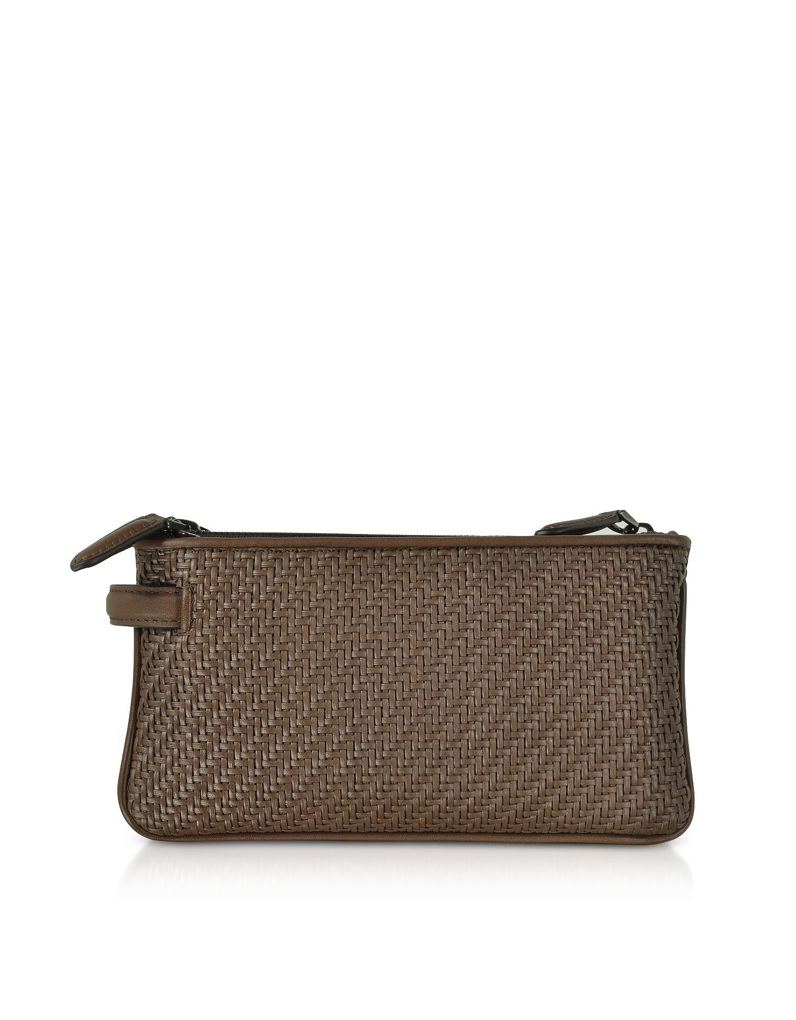 Ermenegildo Zegna Men's Bags, Pelle Tessuta Woven Leather Pouch