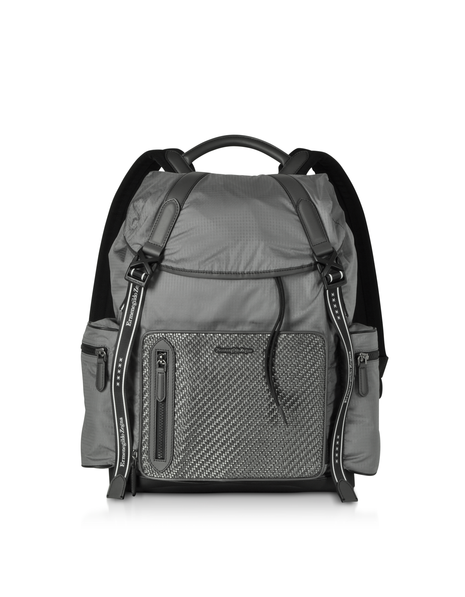 Image of Gray Nylon and Leather Backpack