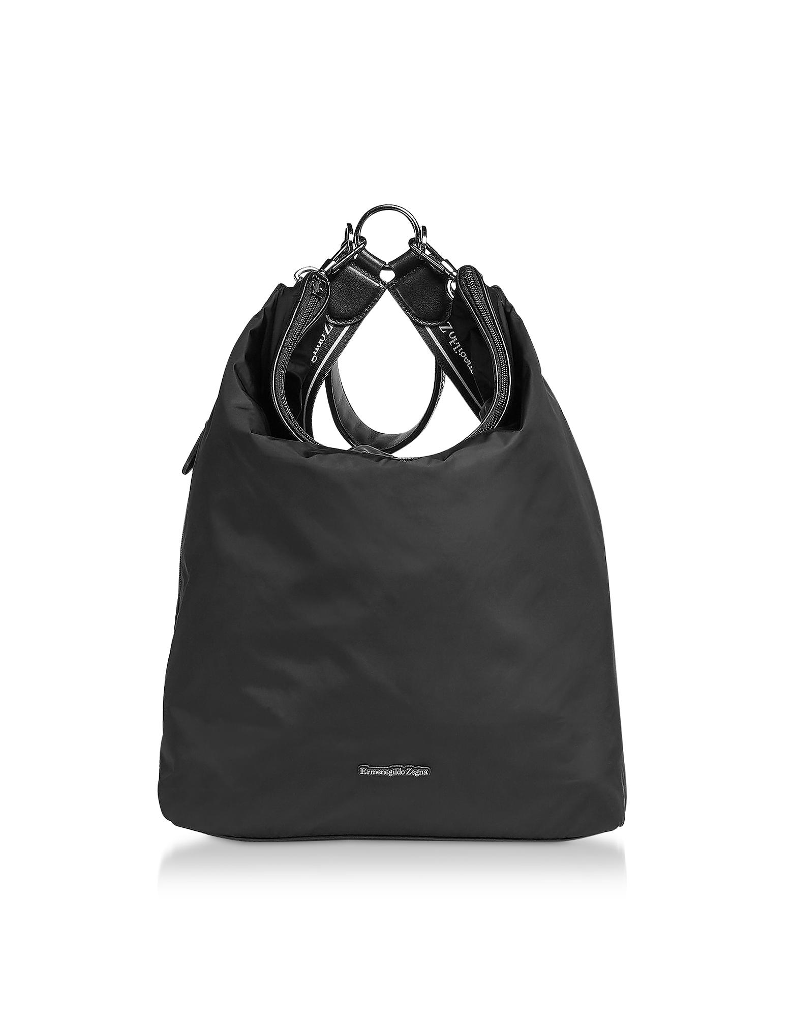Black Nylon Men's Tote Bag/Backpack