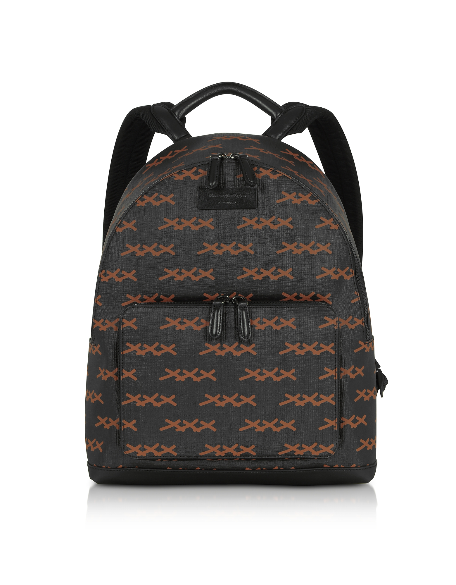 Black XXX Printed Coated Canvas and Vicuna Backpack