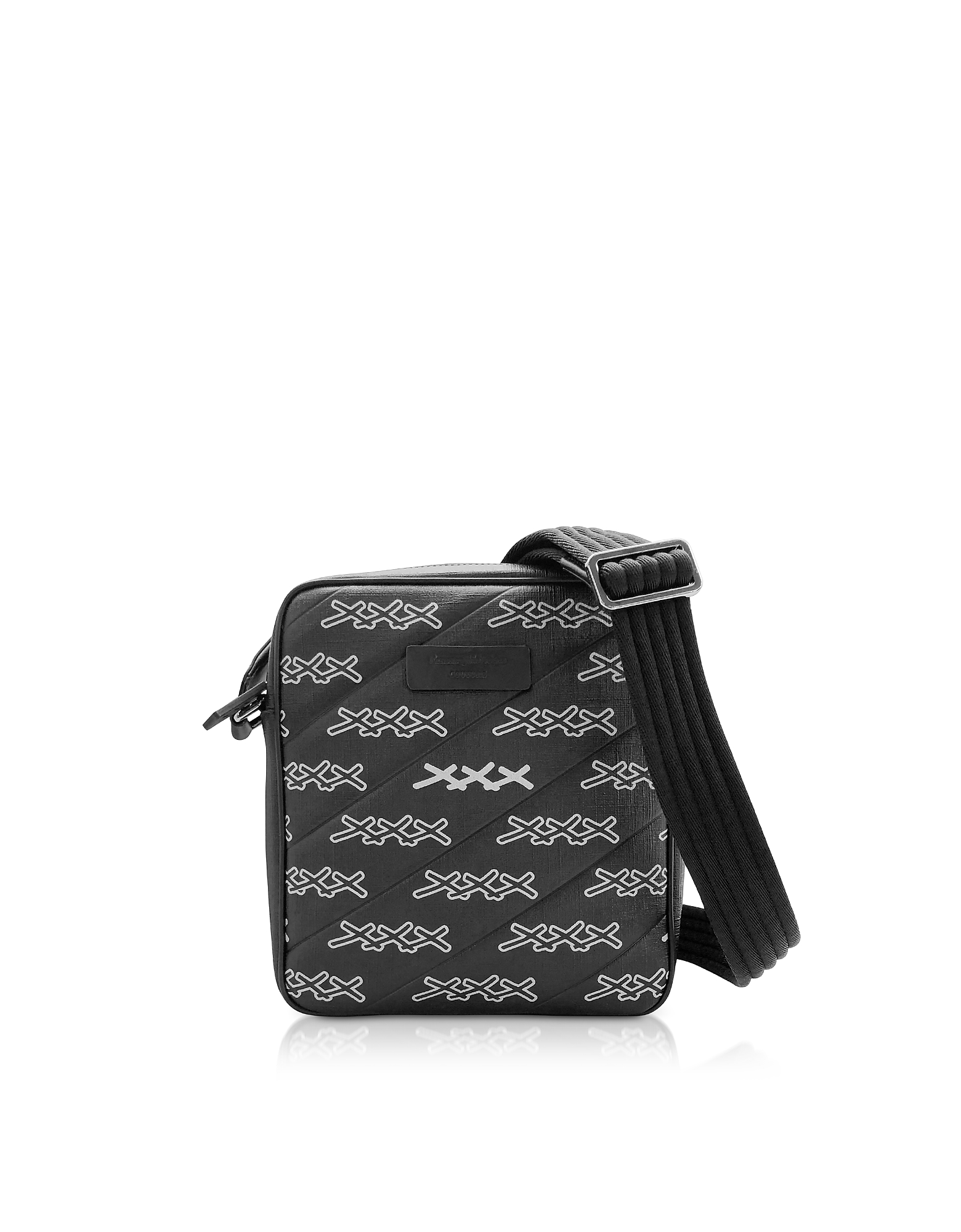 Black Coated Canvas Signature Crossbody Bag