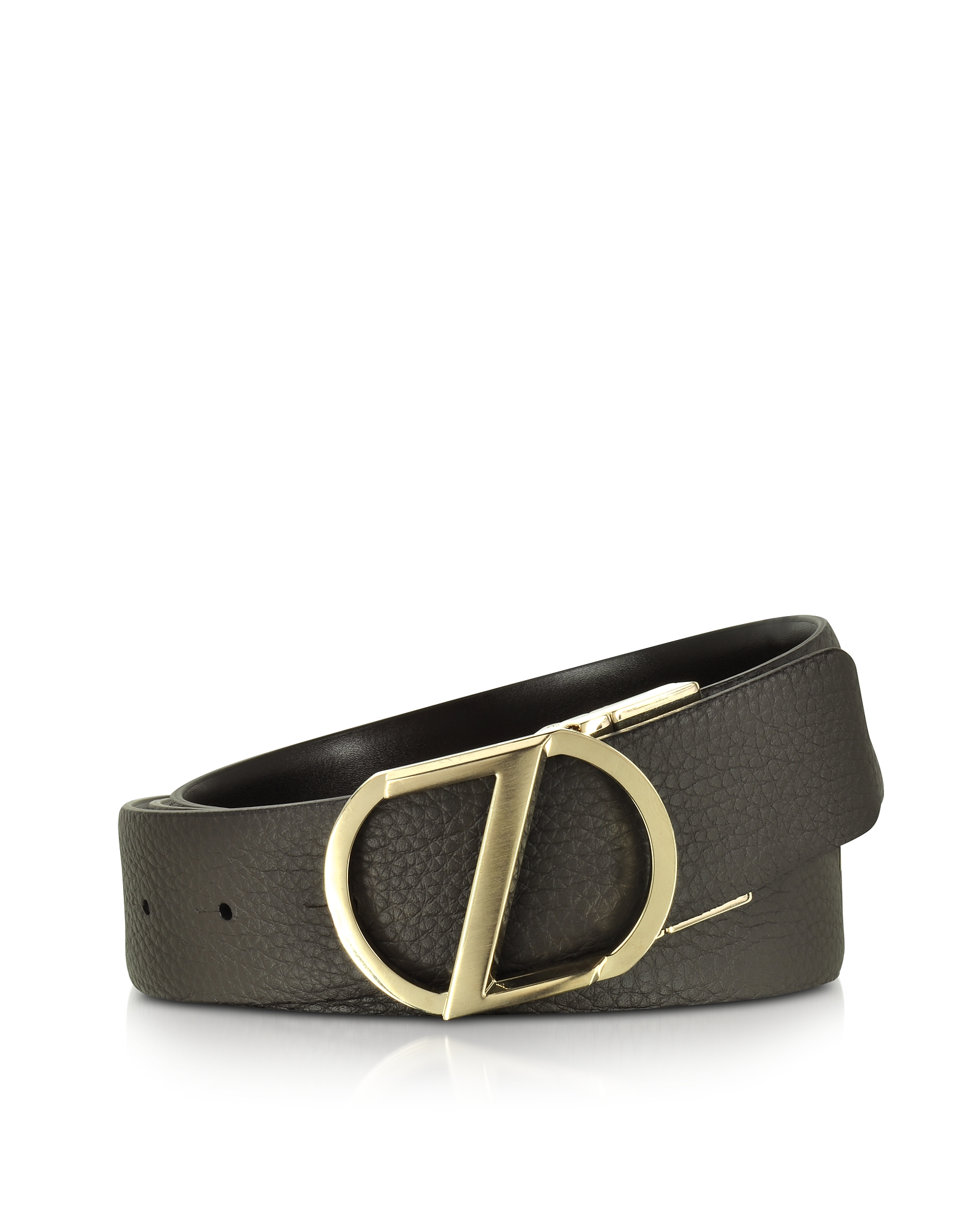 Dark Brown Leather Reversible & Adjustable Belt w/Gold-tone Signature Buckle