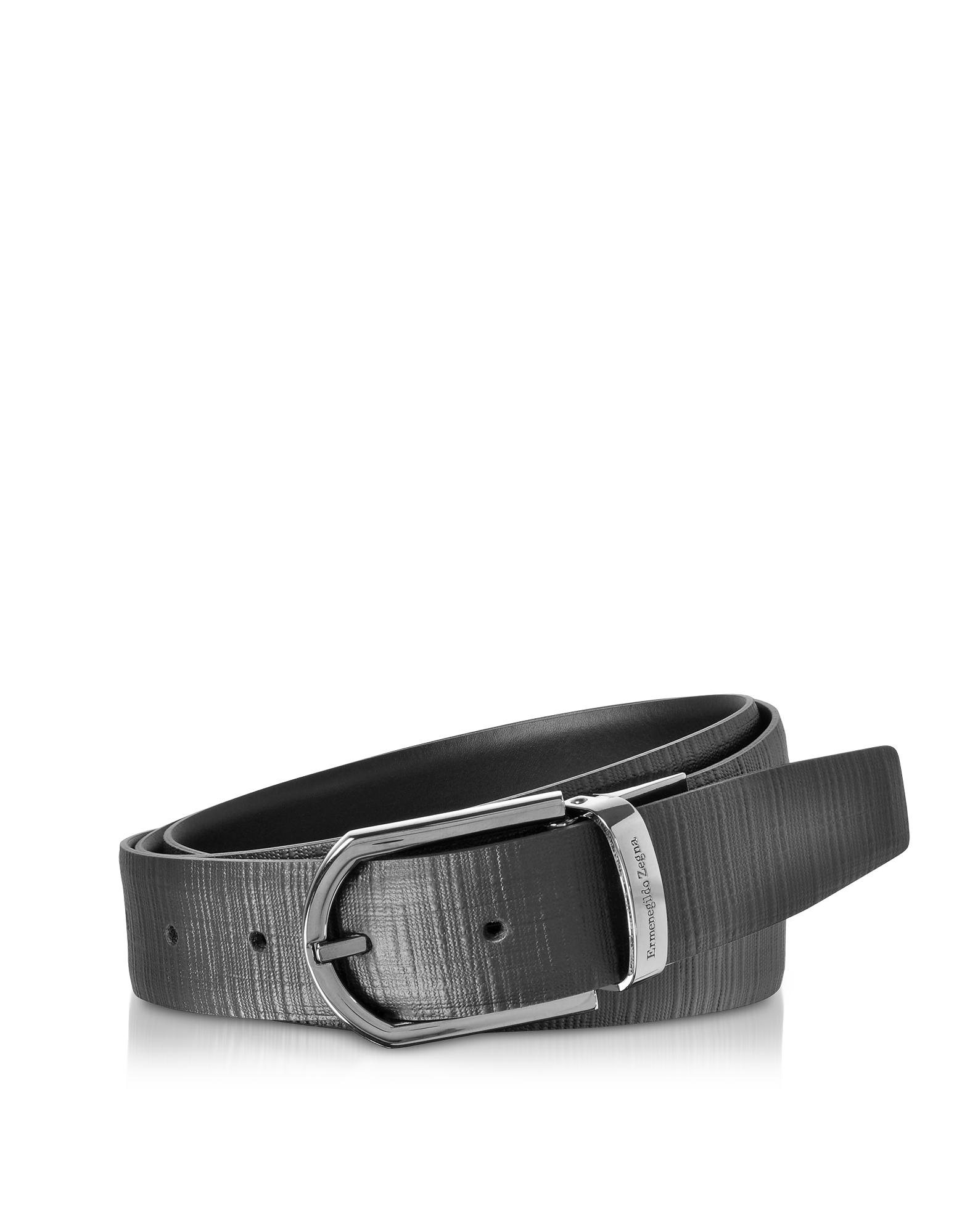 Black Embossed Leather Adjustable and Reversible Men's Belt