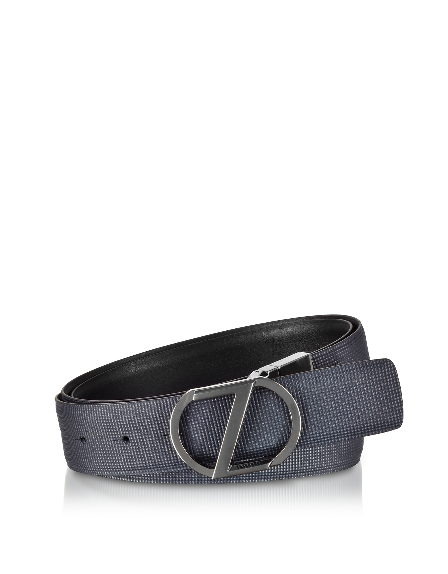 Navy Blue & Black Cross Grain Leather Adjustable and Reversible Men's Belt