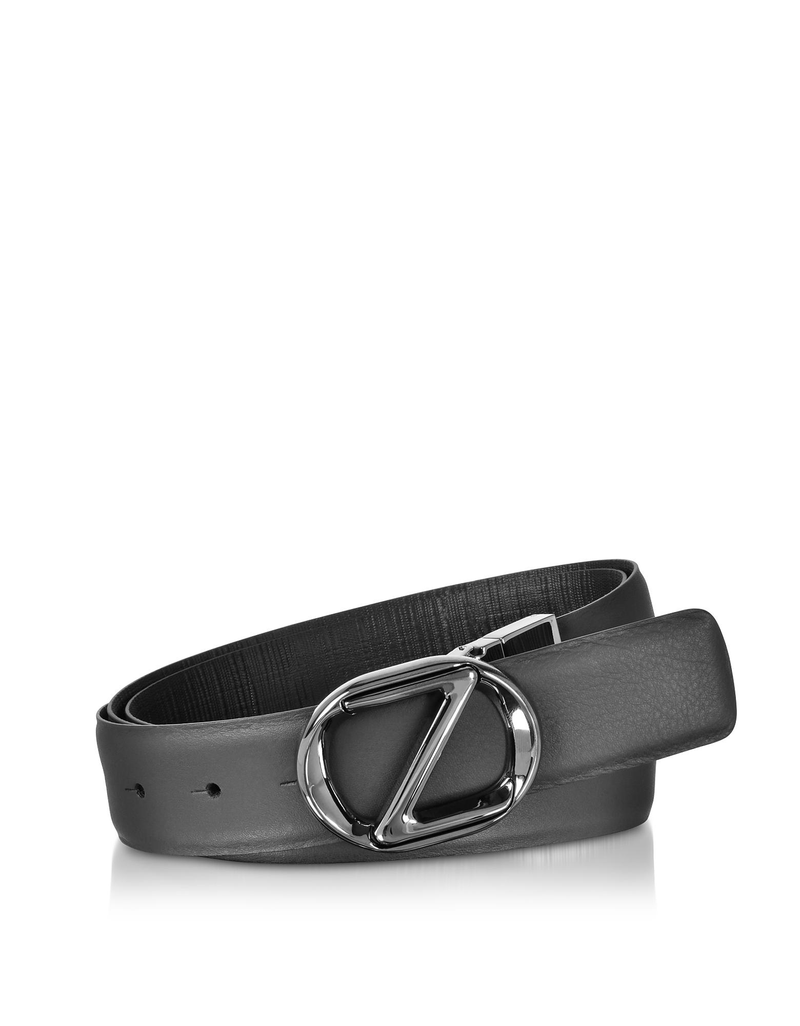 Black Smooth/Embossed Leather Adjustable and Reversible Men's Belt