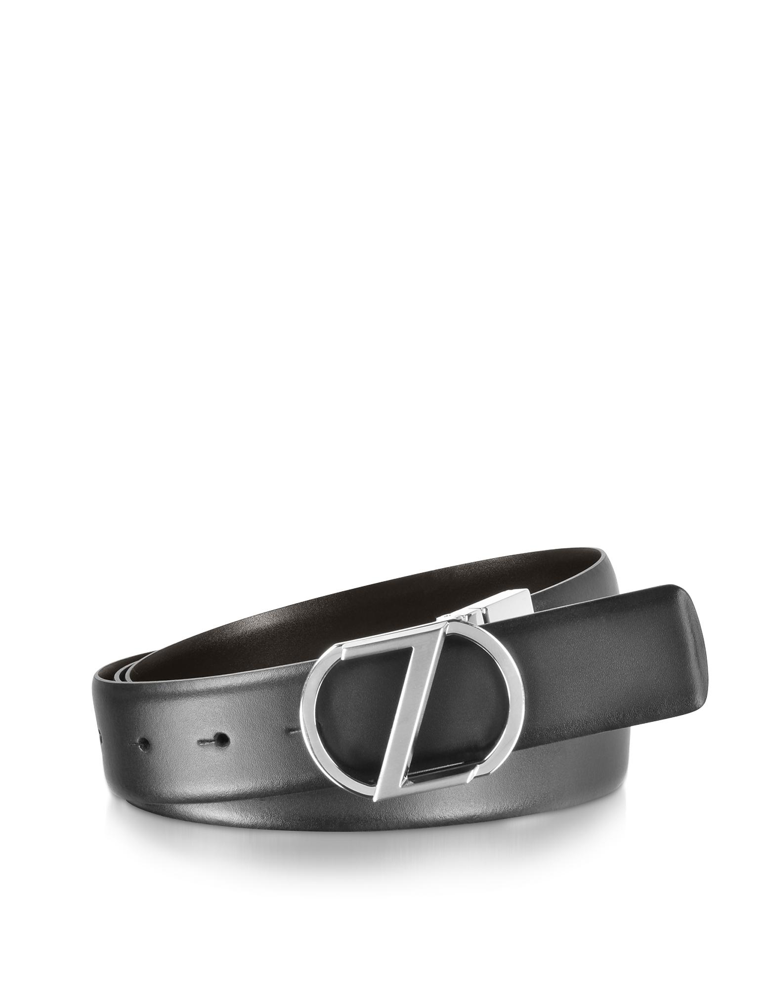 Черный / Коричневый Двухсторонний Кожаный Ремень XL