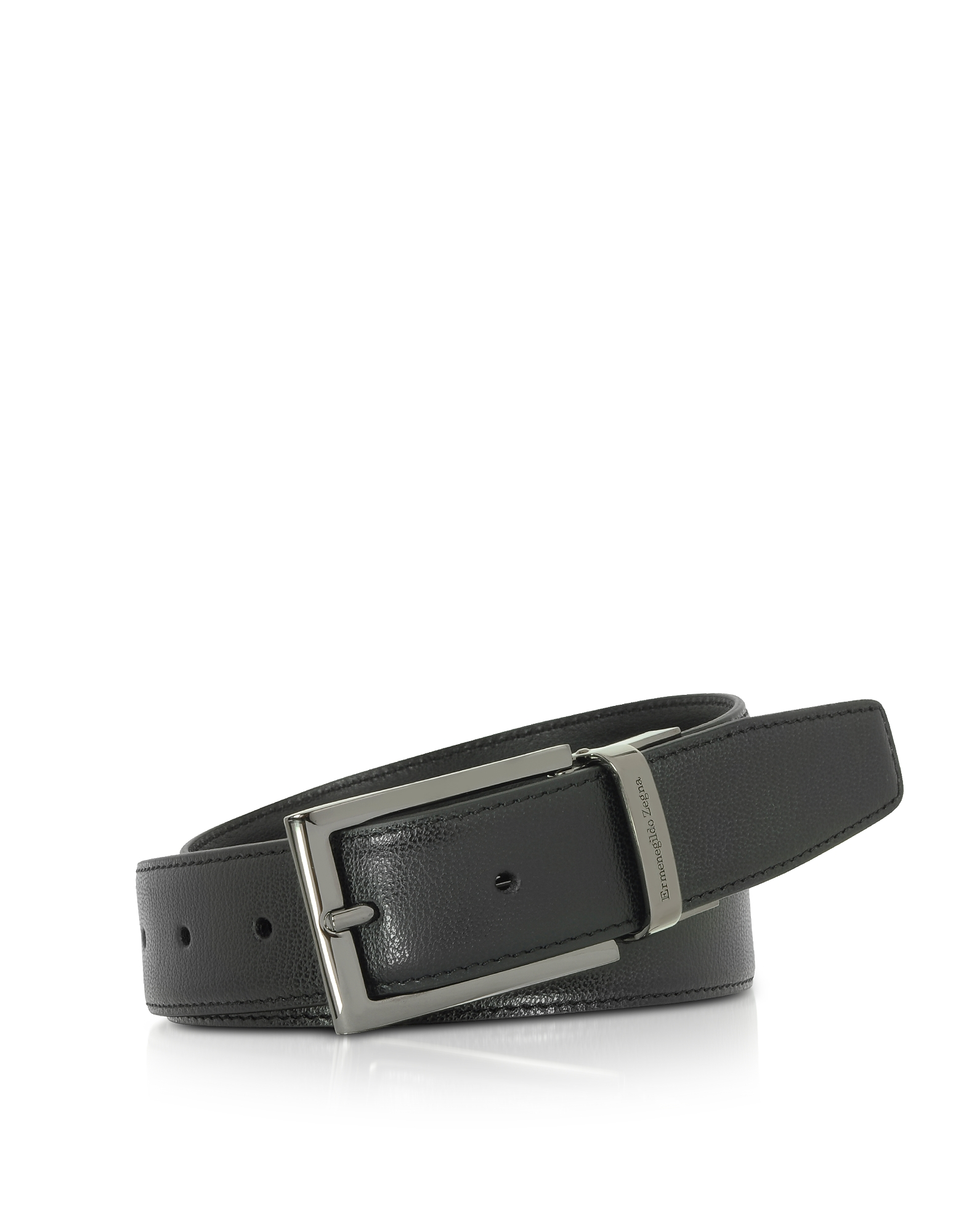 Black Leather Reversible & Adjustable Belt