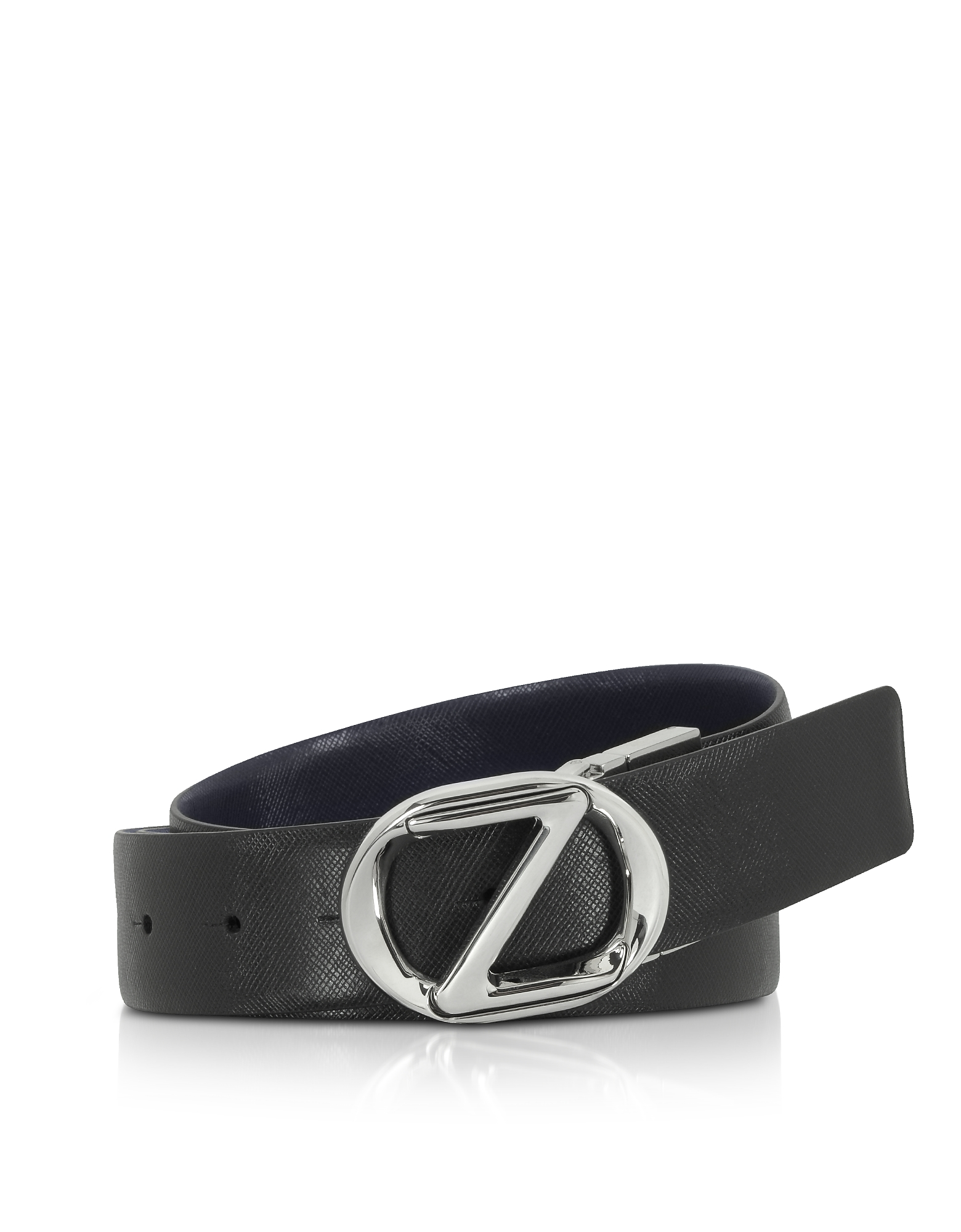 Black Crossgrain Leather Adjustable Belt