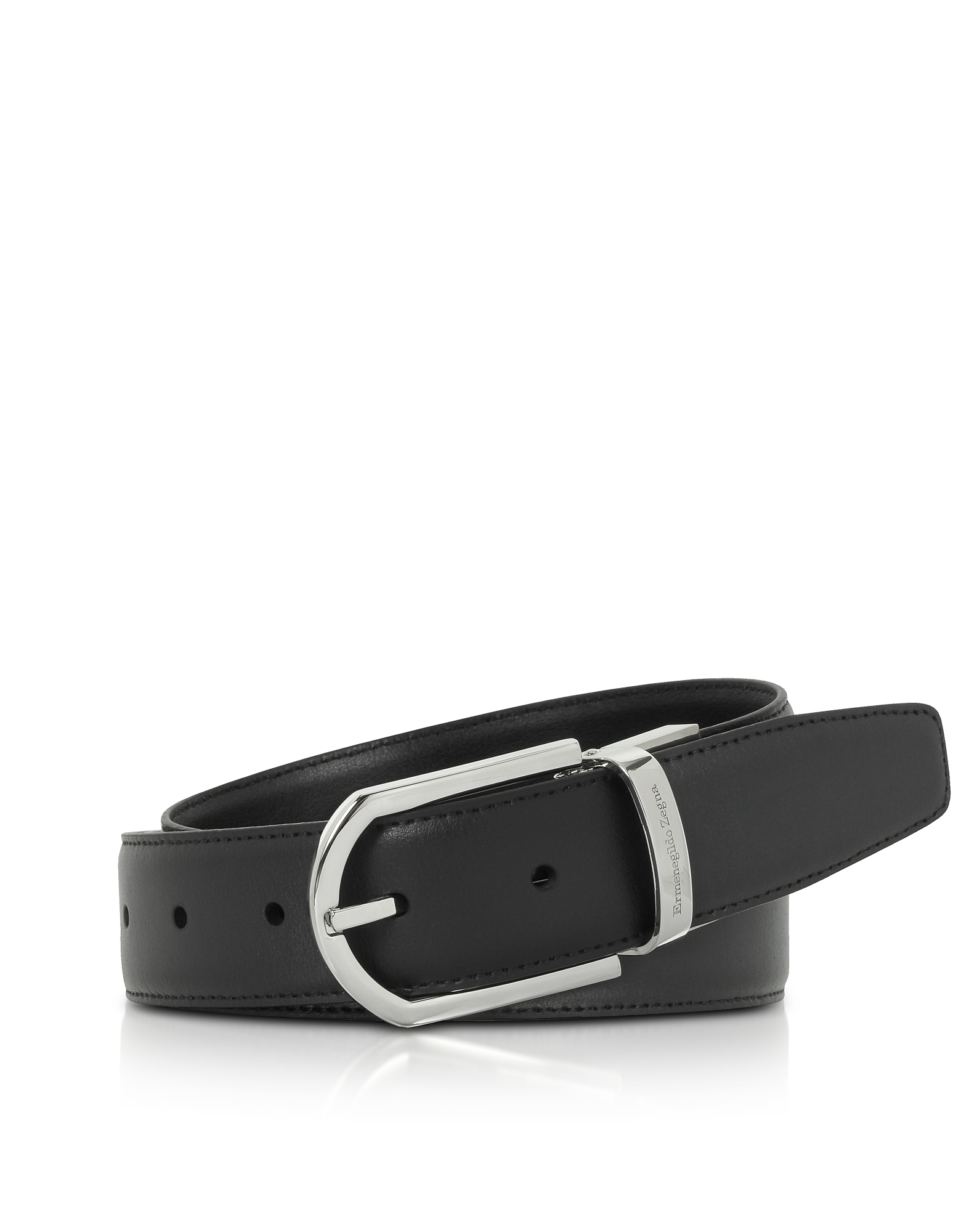 BLACK SMOOTH LEATHER ADJUSTABLE BELT W/SIGNTURE BUCKLE from FORZIERI