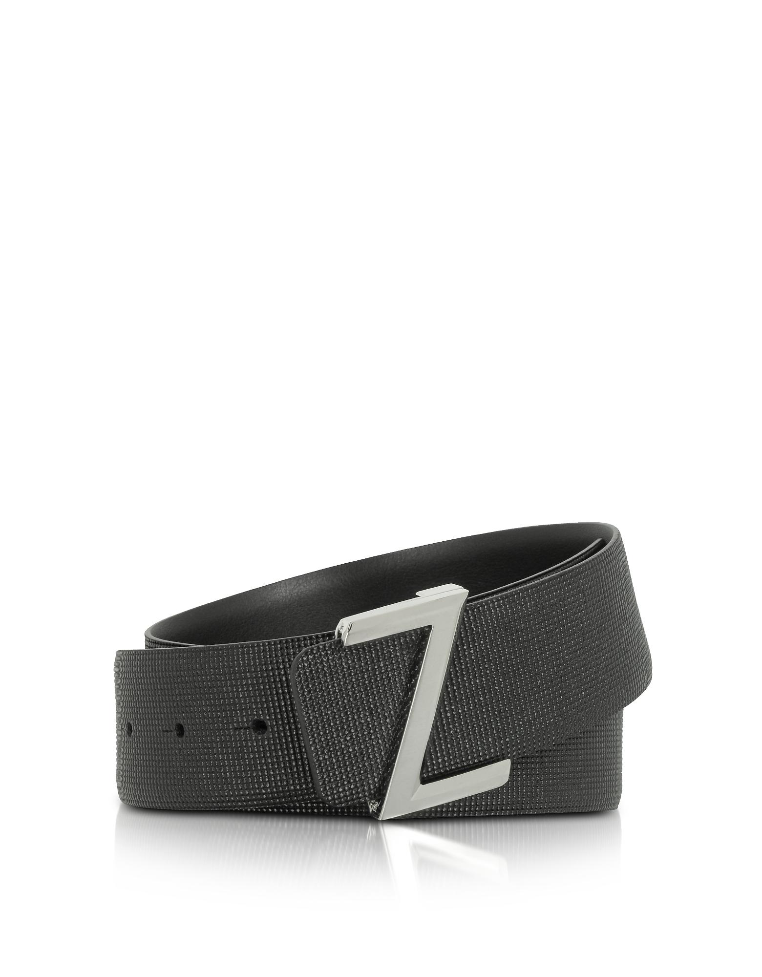 Cintura Logo Slider in Pelle Nera Stampata