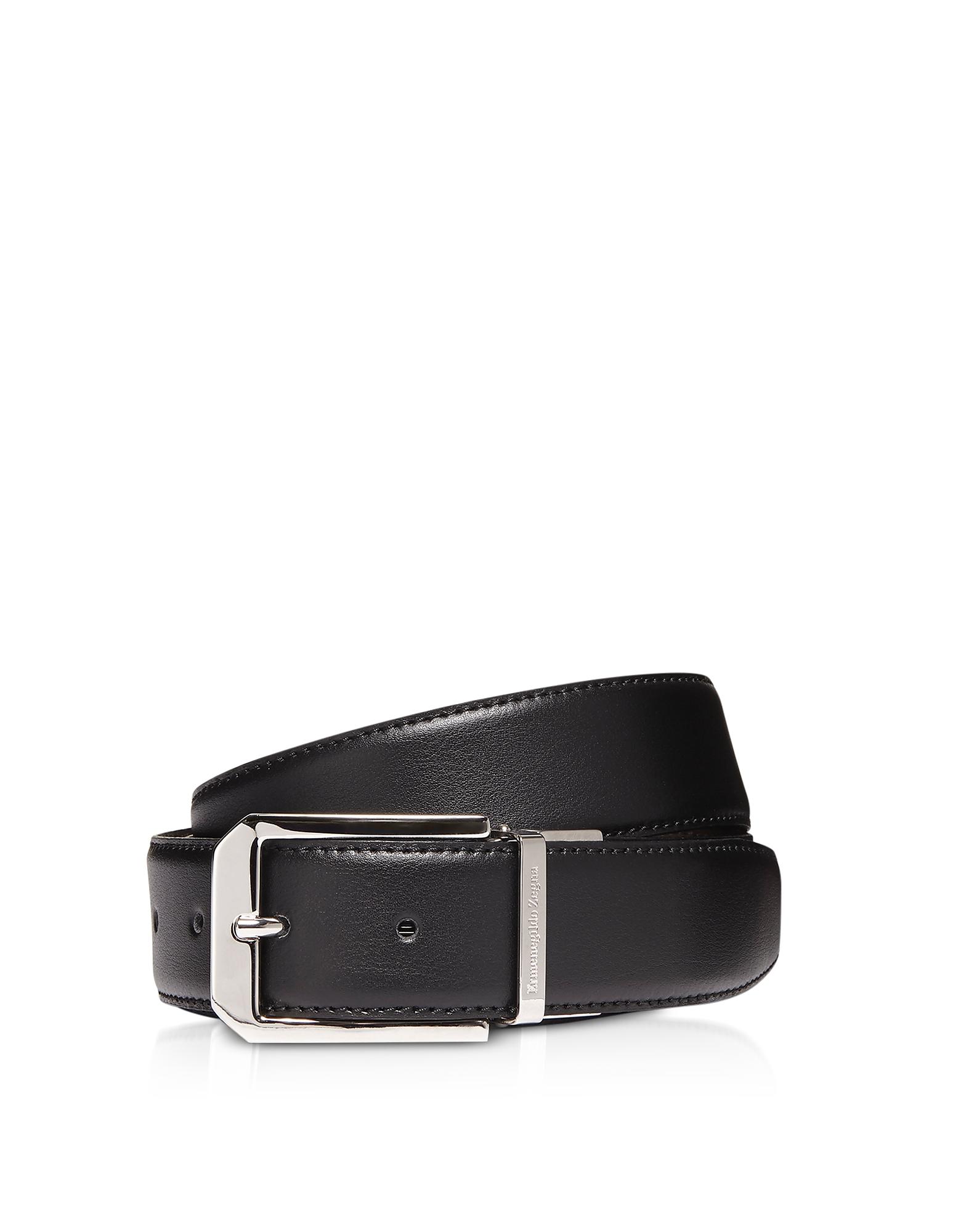 Black Genuine Leather Reversible and Adjustable Men's Belt