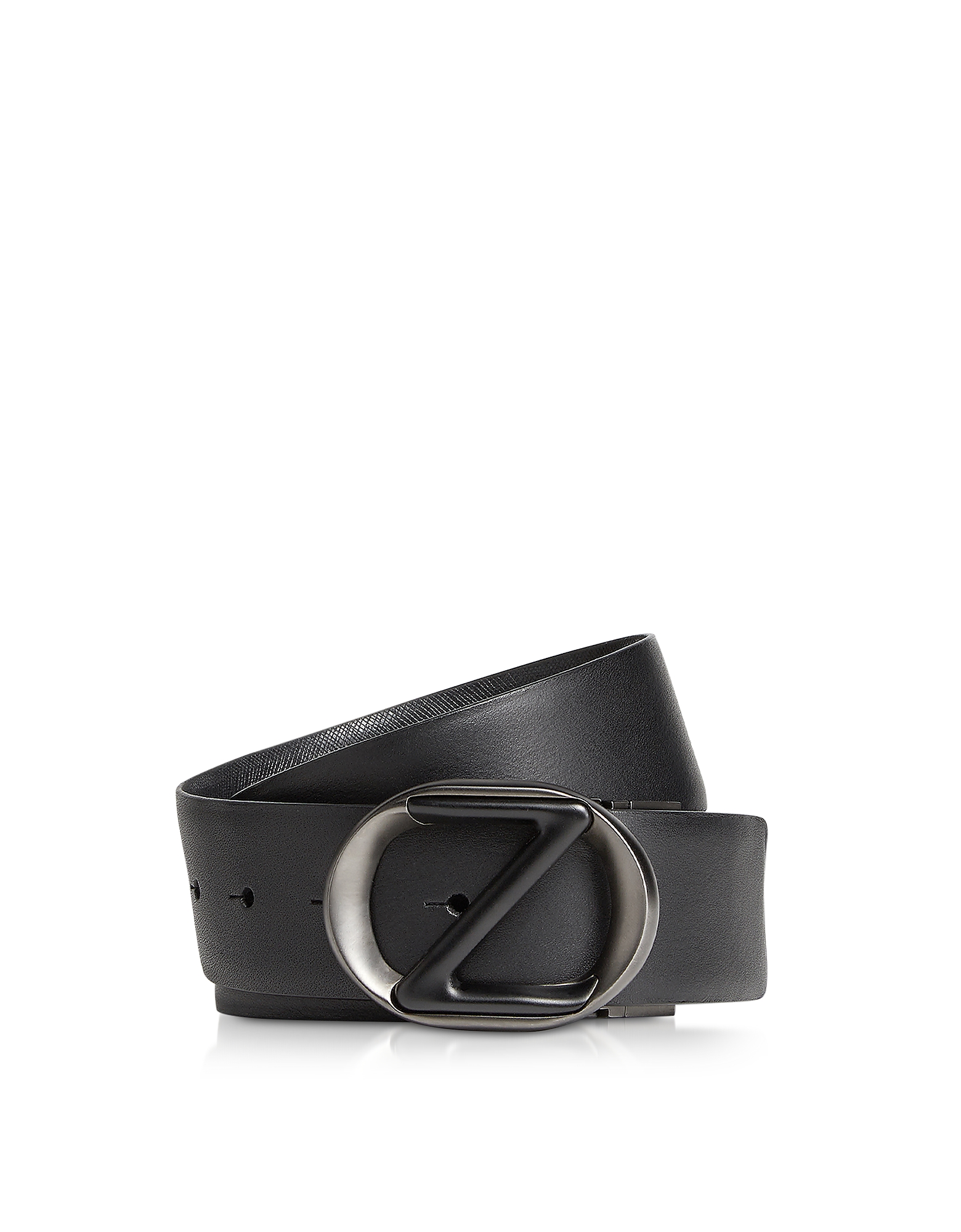 Ermenegildo Zegna  Men's Belts Black Smooth & Saffiano Leather Adjustable and Reversible Men's Belt