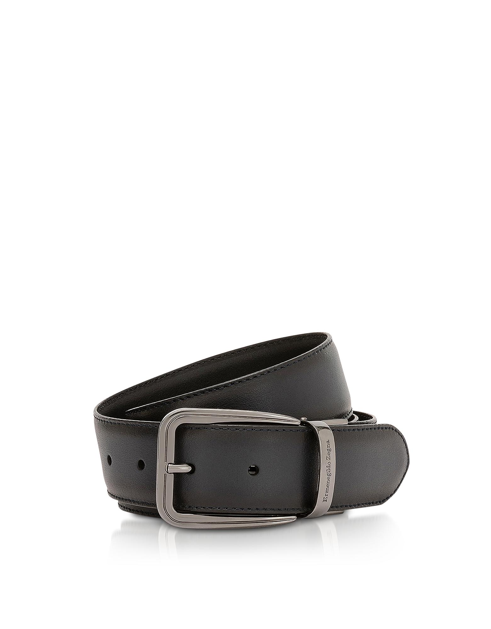 Navy Blue Calf Leather Men's Belt