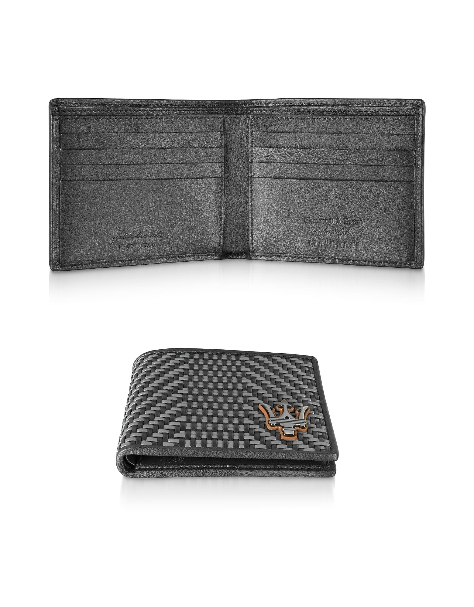 Ermenegildo Zegna Designer Wallets, Black Woven Leather Men's Billfold Wallet