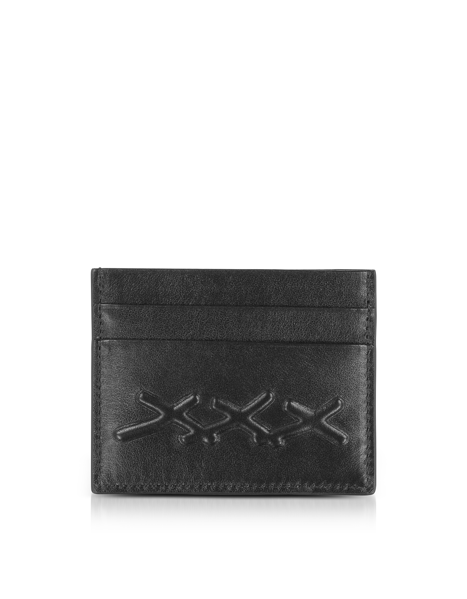 BLACK XXX EMBOSSED LEATHER CREDIT CARD HOLDER from FORZIERI