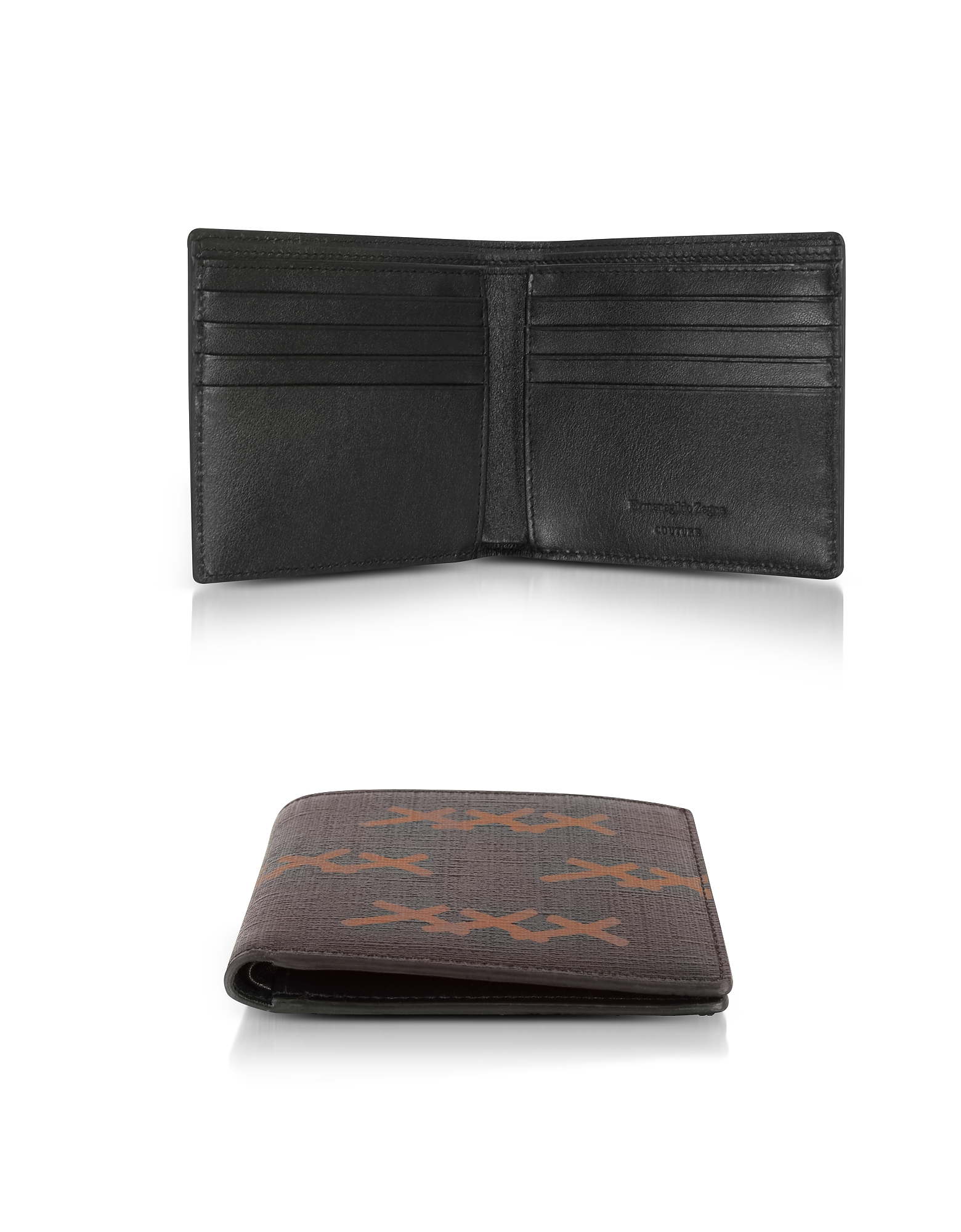 Image of Ermenegildo Zegna Designer Wallets, XXX Printed Canvas and Leather Billfold Wallet