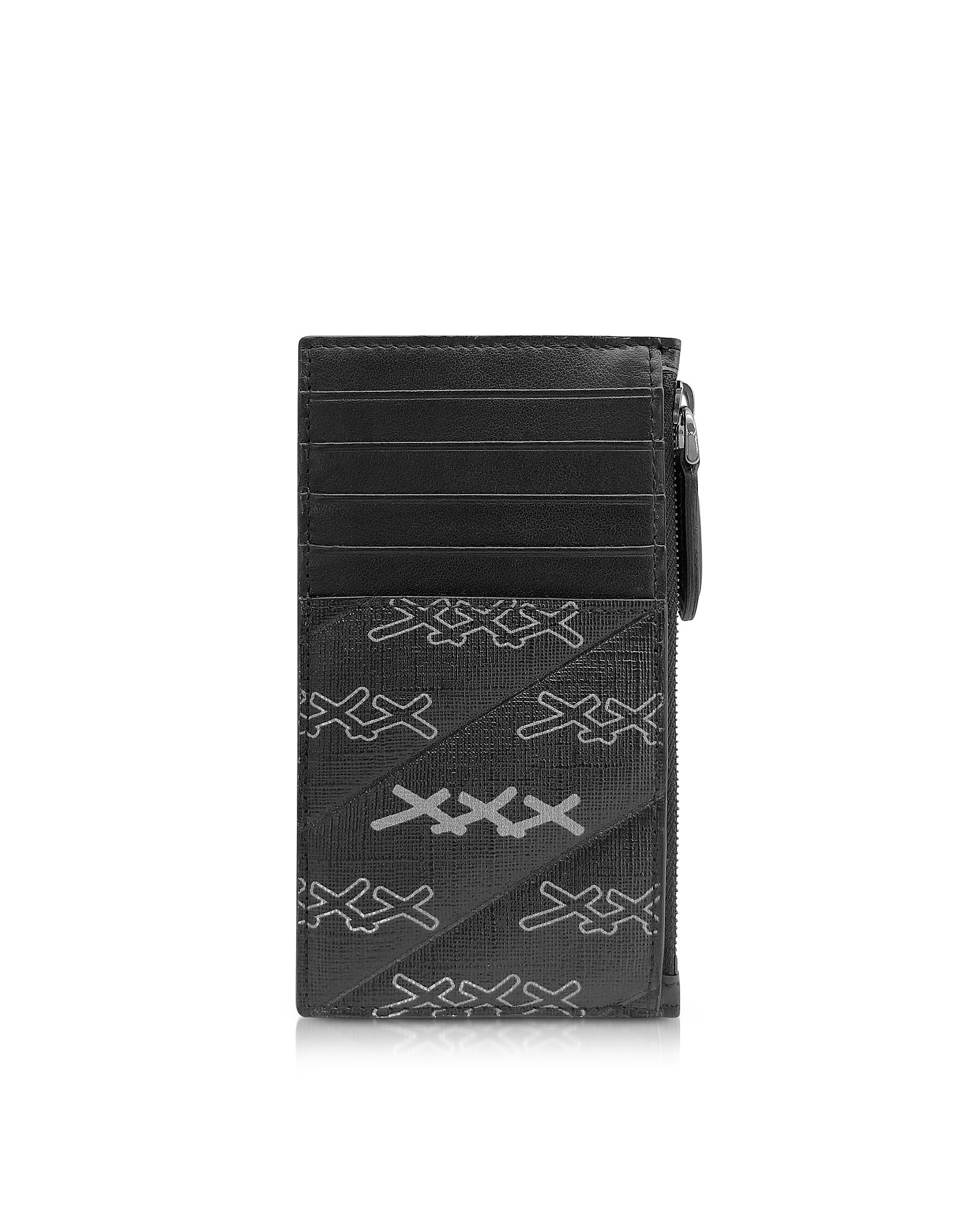 Black Coated Canvas Signature Vertical Card Holder