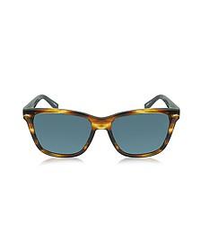 EZ0002 50V Havana & Blue Acetate Men's Sunglasses - Ermenegildo Zegna