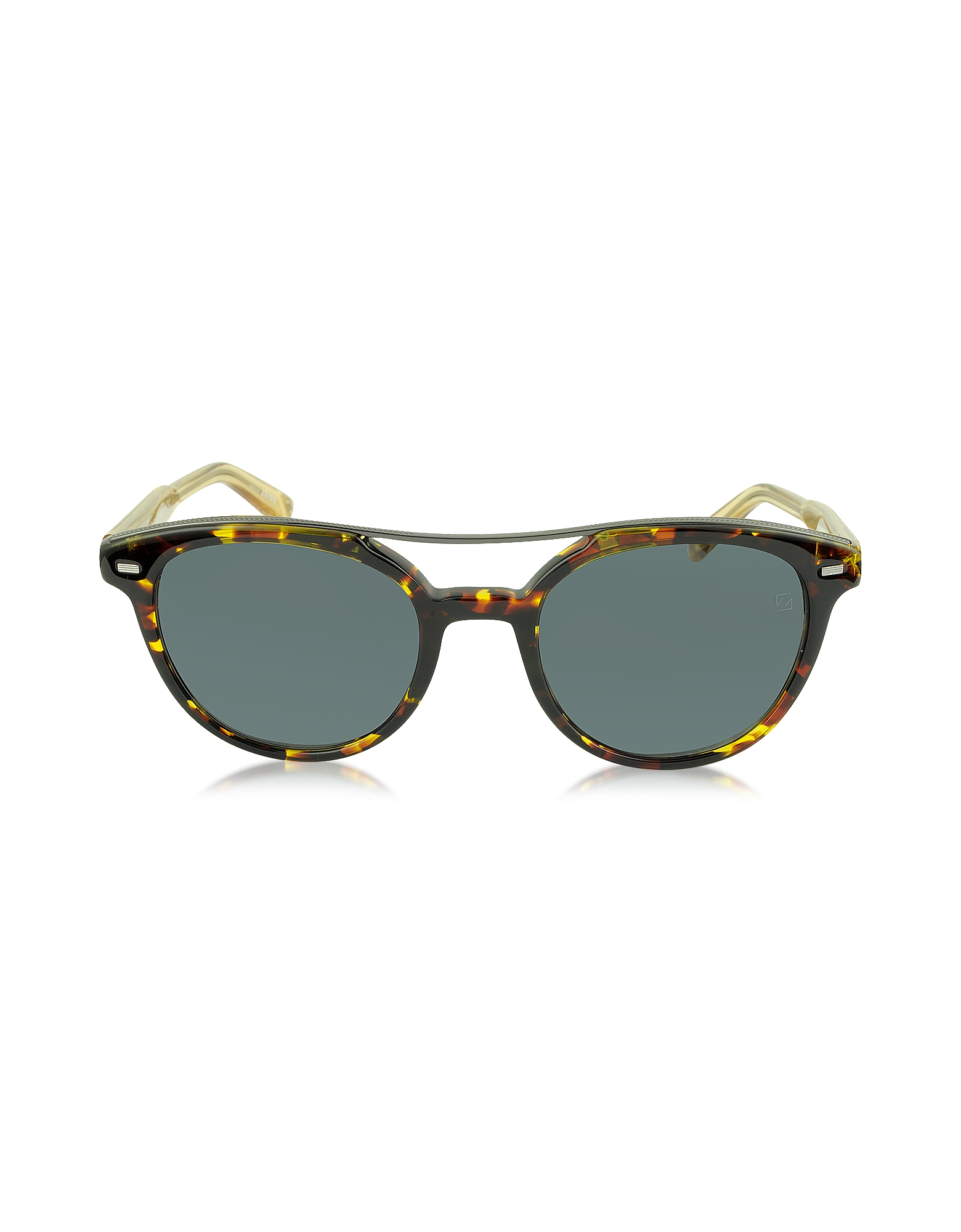 Ermenegildo Zegna Designer Sunglasses, EZ0006 52A Havana & Gold Acetate Round Men's Sunglasses