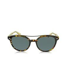 EZ0006 52A Havana & Gold Acetate Round Men's Sunglasses - Ermenegildo Zegna