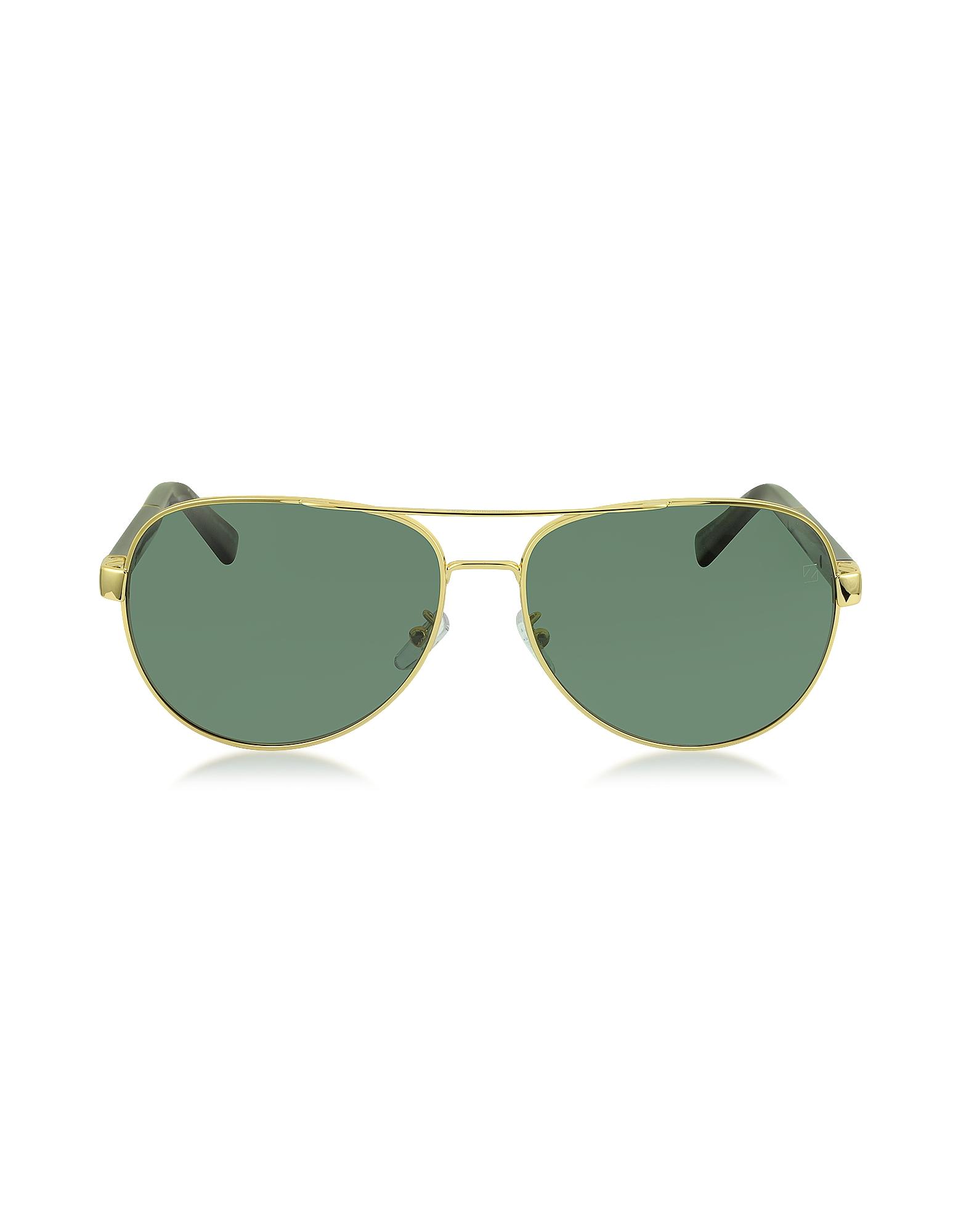 Ermenegildo Zegna Sunglasses, EZ0010 30R Gold Metal & Brown Acetate Aviator Men's Sunglasses