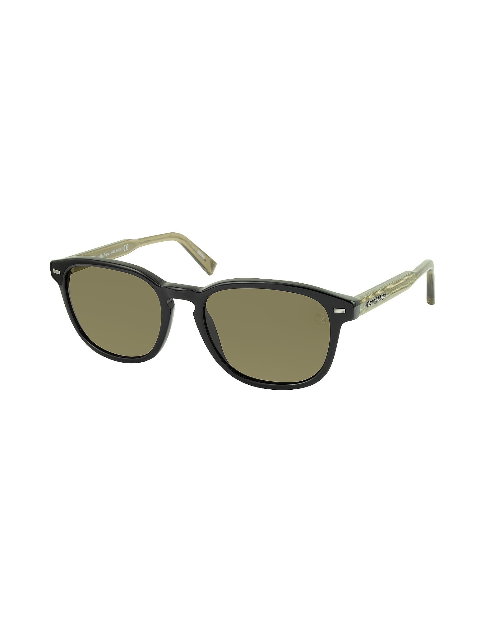 Фото EZ0005 01M - Черно-Коричневые Поляризованные Мужские Солнечные Очки в Оправе из Ацетата. Купить с доставкой