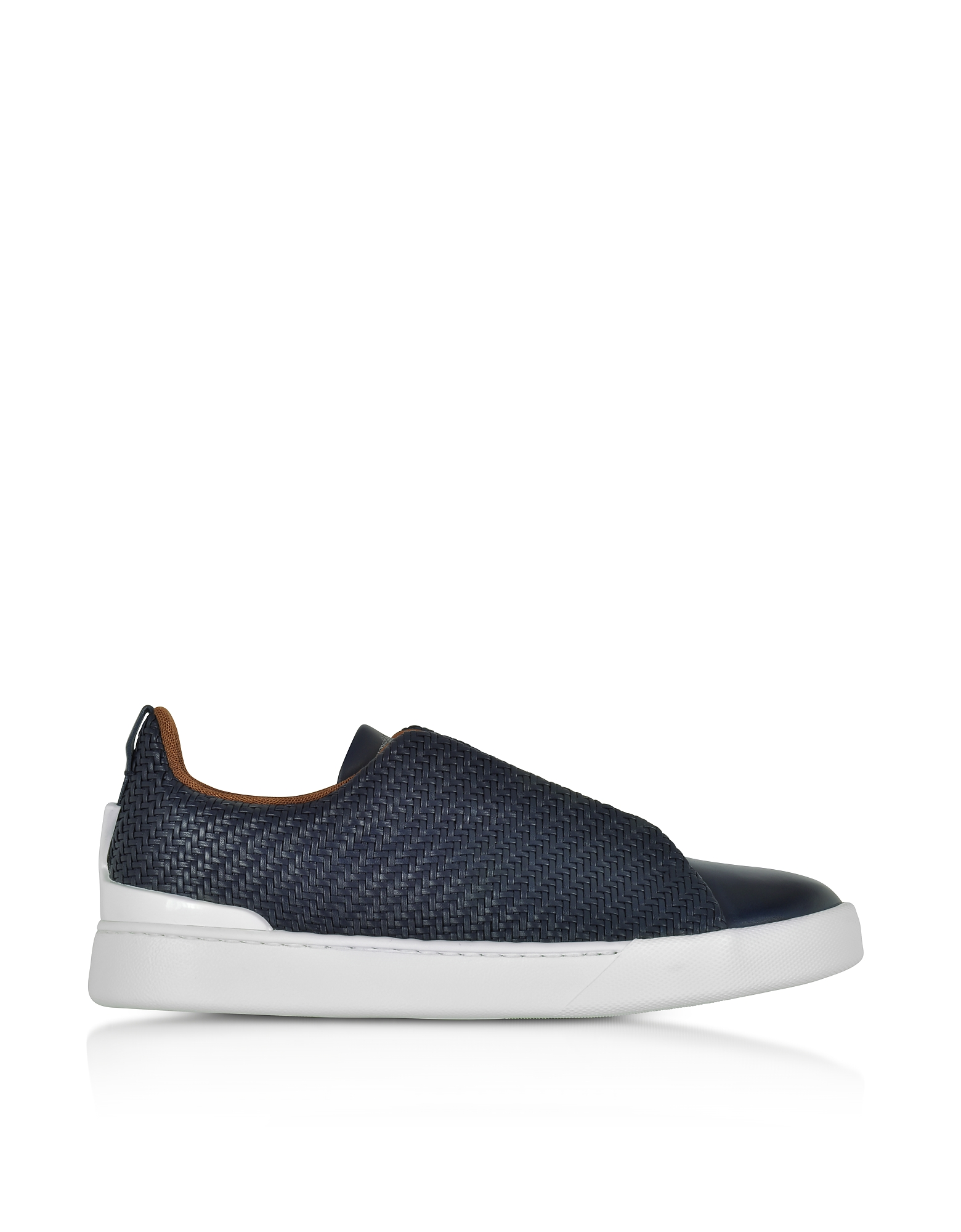 Ermenegildo Zegna Shoes, Deep Blue Triple Stitch Woven Leather Low Top Sneakers