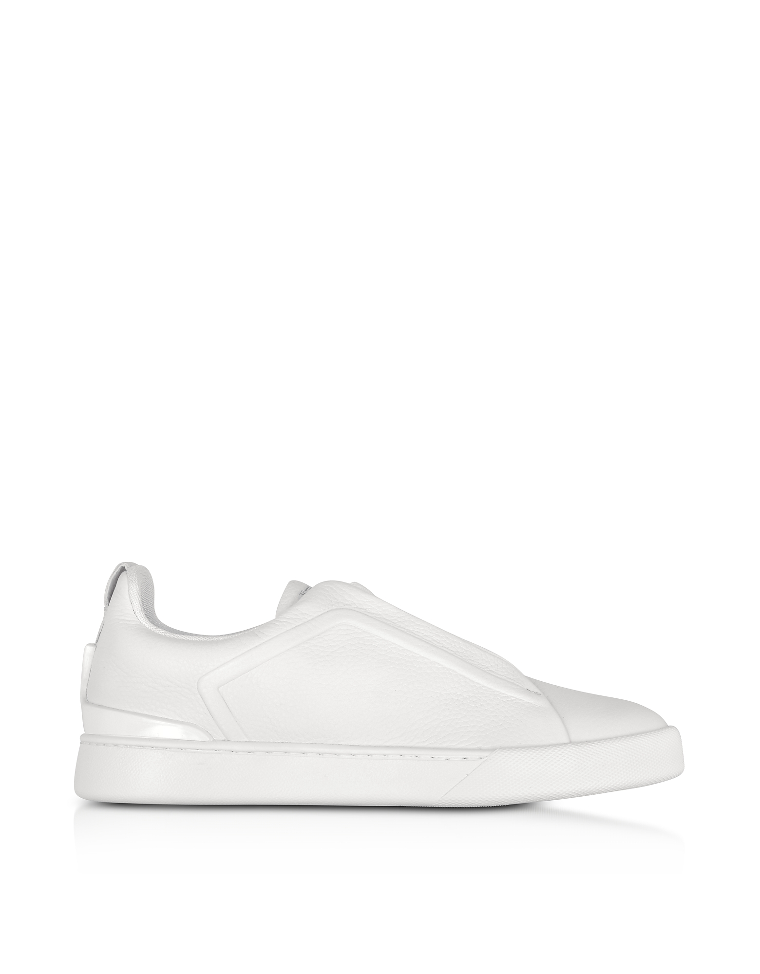 Ermenegildo Zegna Shoes, Triple Stitch Optic White Leather Low Top Sneakers