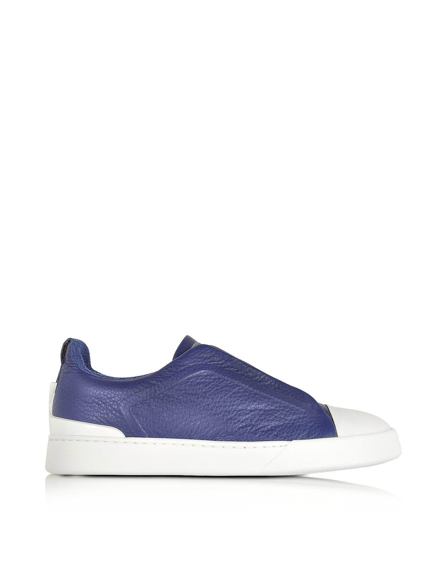 Ermenegildo Zegna Shoes, Electric Blue Grained Triple Stitch Sneakers