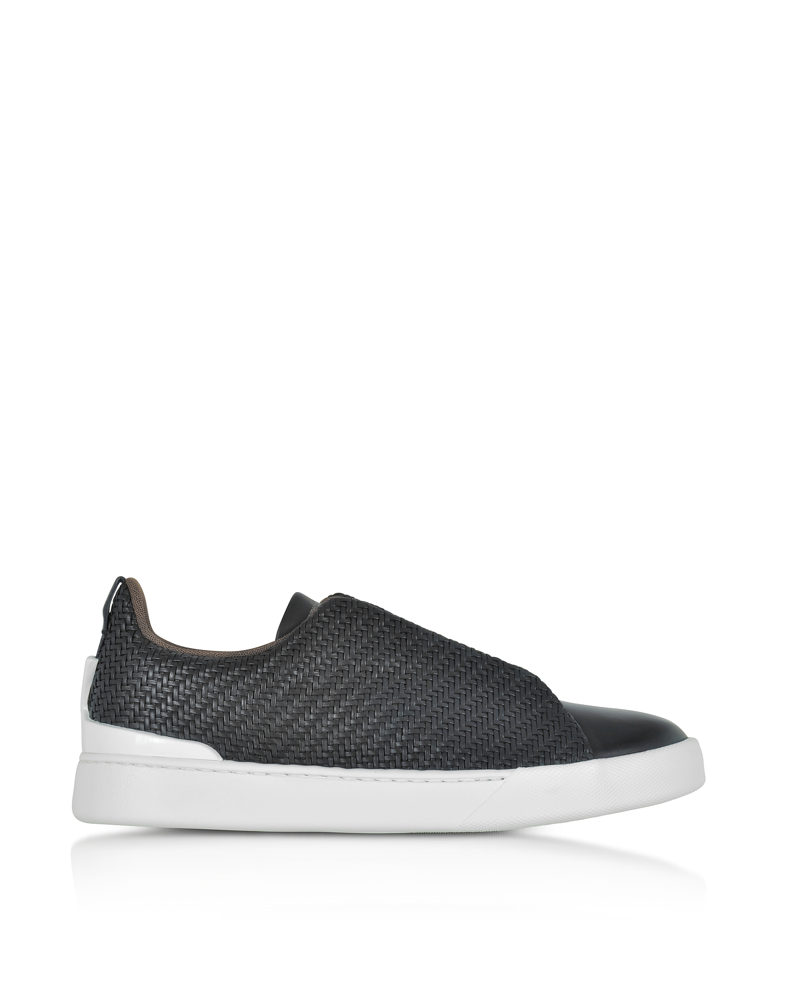 Ermenegildo Zegna Shoes, Black Triple Stitch Woven Leather Low Top Sneakers
