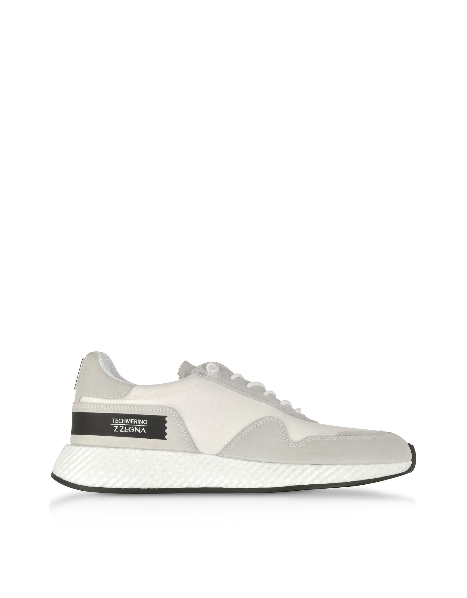 Ermenegildo Zegna Shoes, White Techmerino and Suede Men's Sneakers