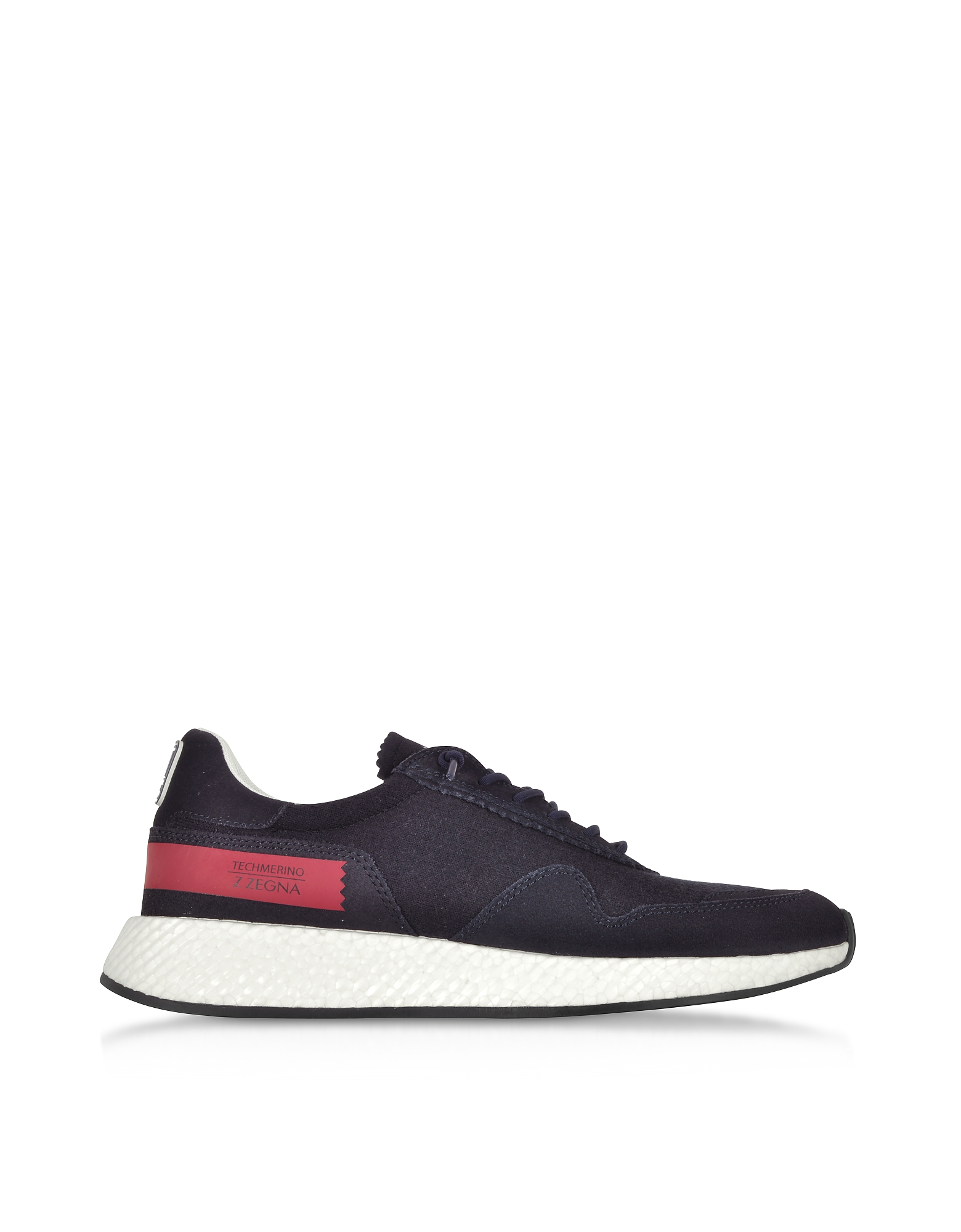 Ermenegildo Zegna Shoes, Navy Blue Techmerino and Suede Men's Sneakers