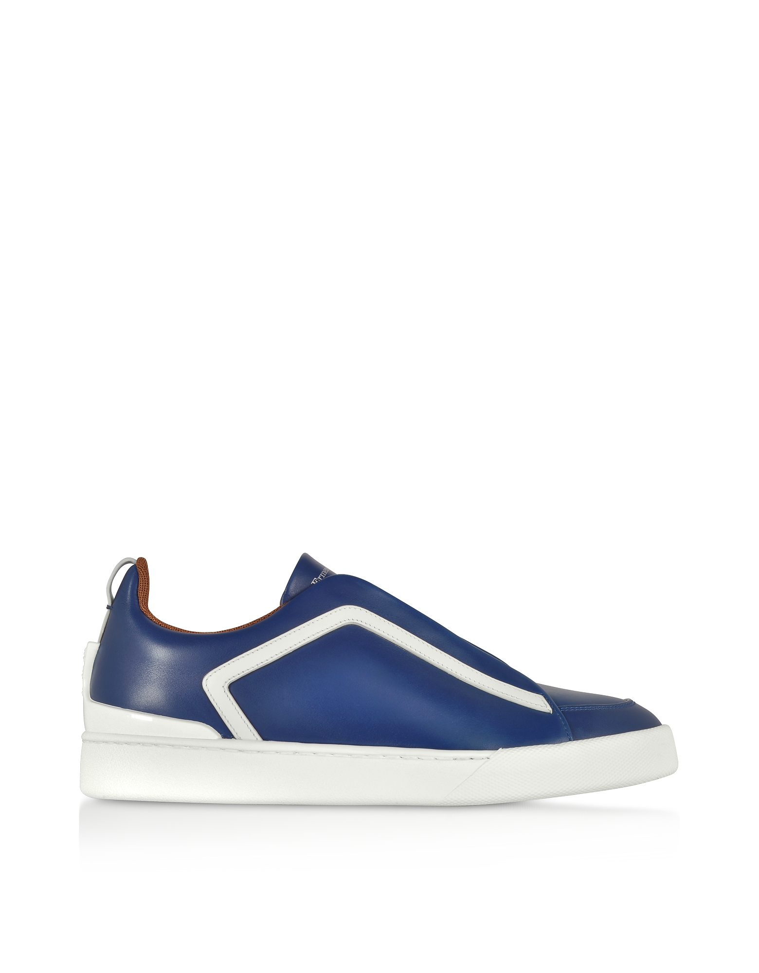 Ermenegildo Zegna Shoes, Triple Stitch Blue Leather Low Top Sneakers
