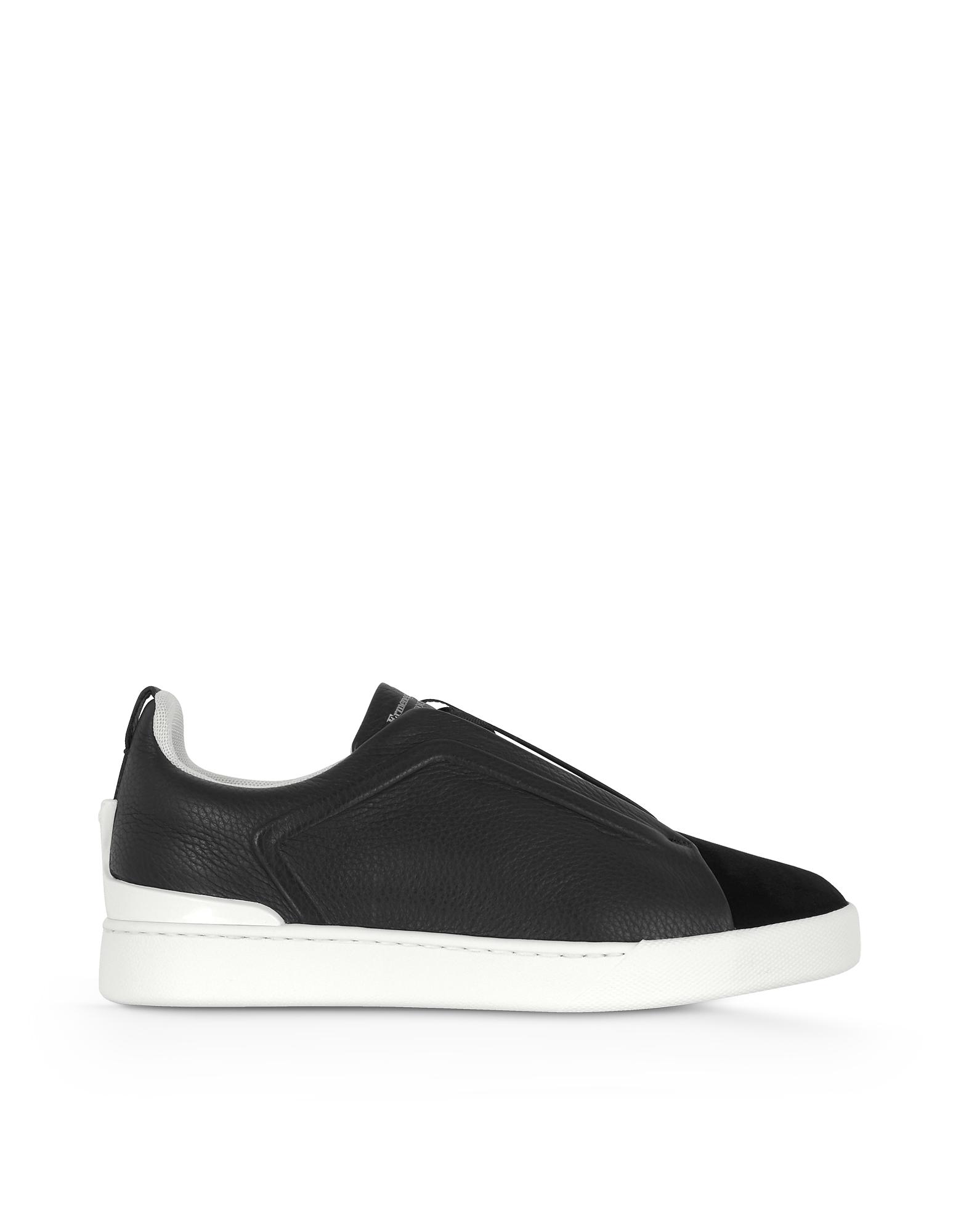 Ermenegildo Zegna Shoes, Deep Blue Triple Stitch Woven Leather Low Top Sneakers