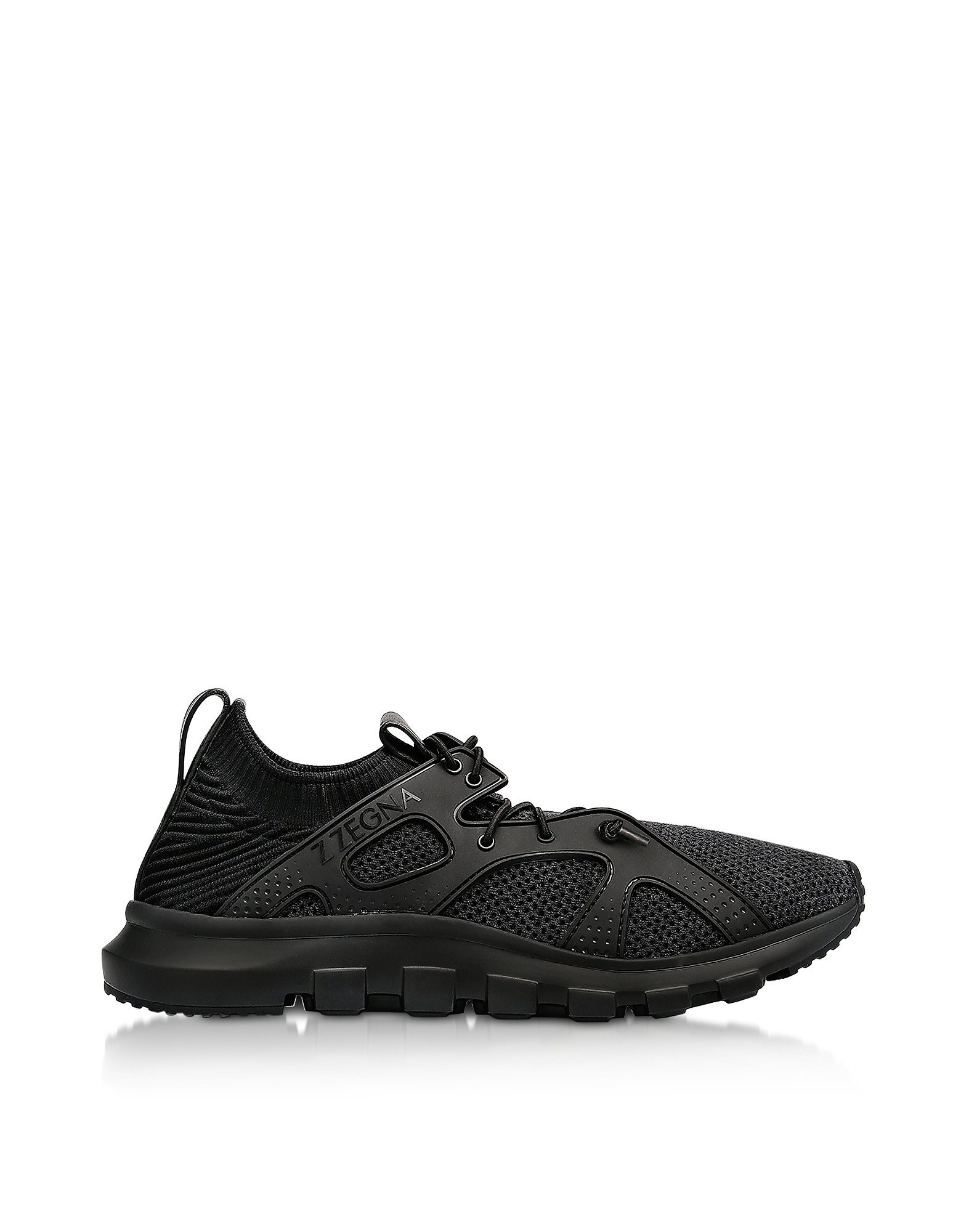 Ermenegildo Zegna Designer Shoes, Black TECHMERINO Sock 2.0 Sneakers
