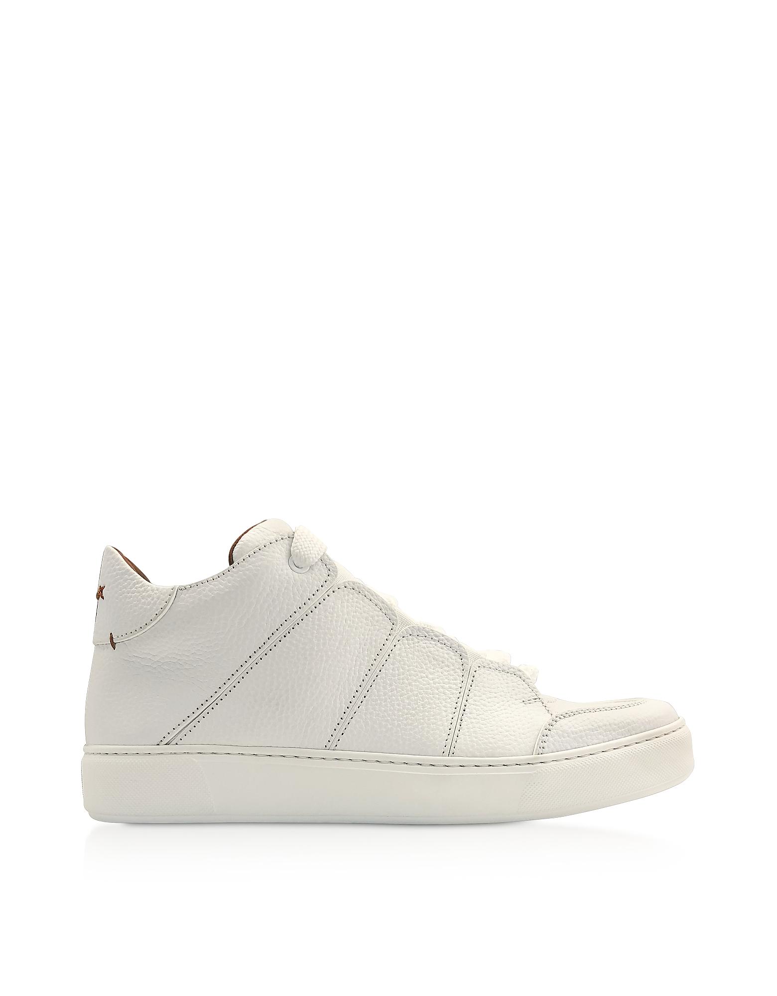 Ermenegildo Zegna Designer Shoes, White Leather Tiziano High-Top Sneakers