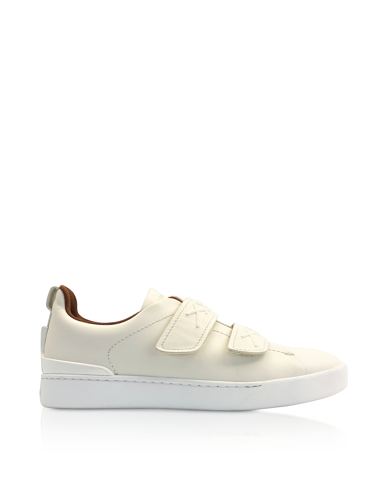 Ermenegildo Zegna Designer Shoes, White Leather Low-Top Sneakers