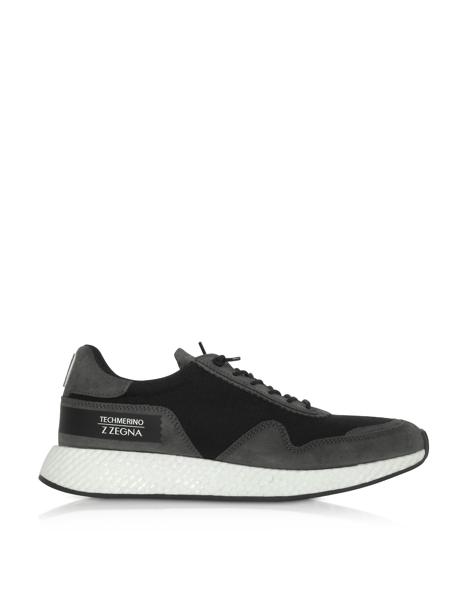 Black Techmerino Low-Top Sneakers