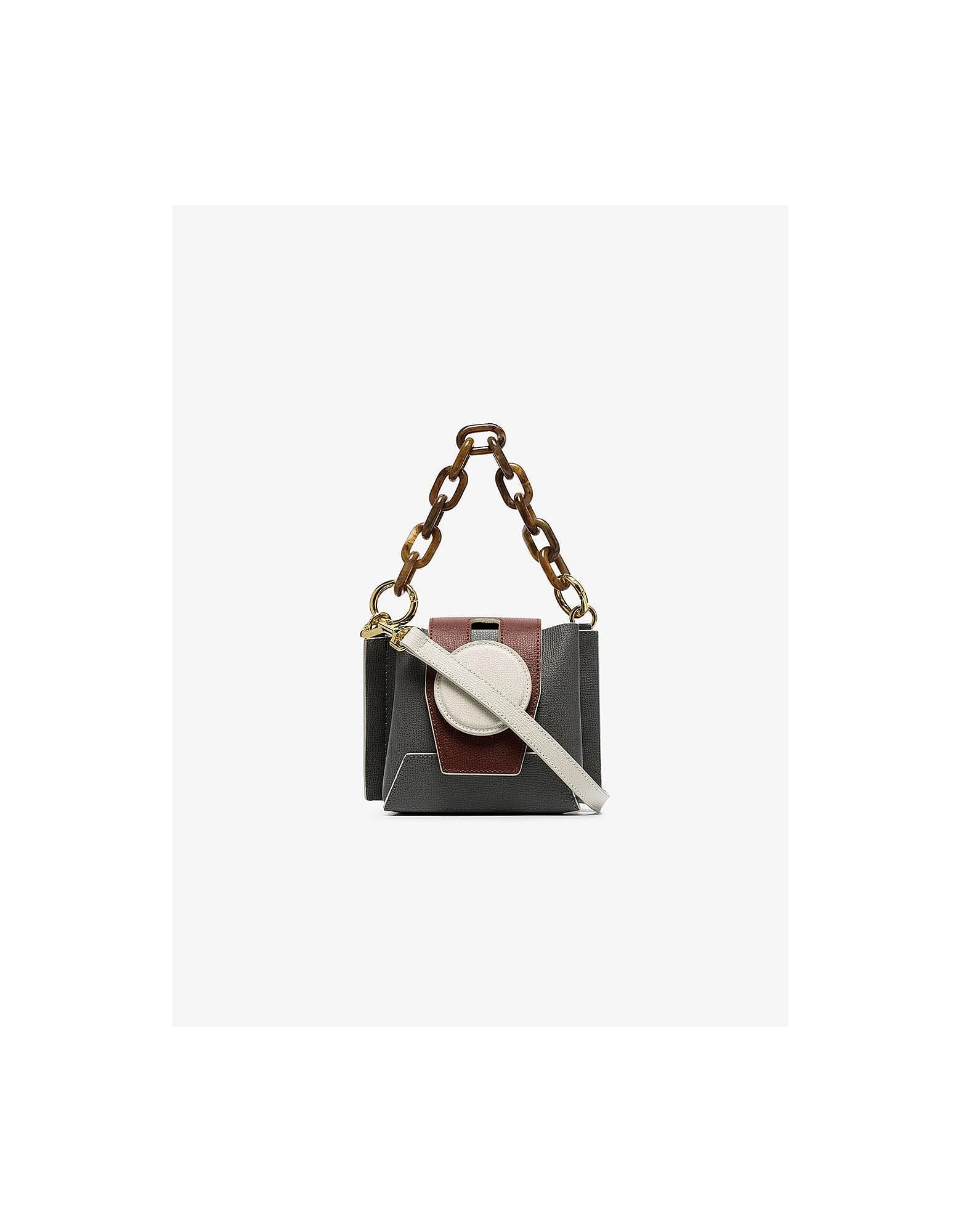 Yuzefi Designer Handbags, Grey Daria Leather Bucket Bag