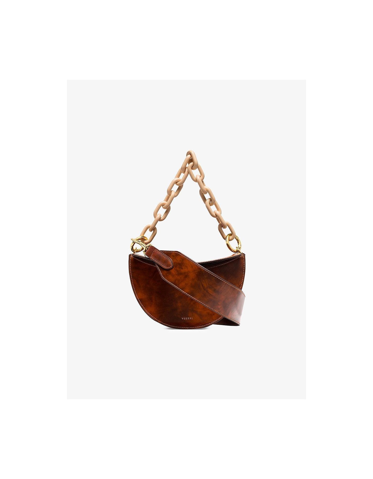 Yuzefi Designer Handbags, Brown Doris Marble Effect Shoulder Bag