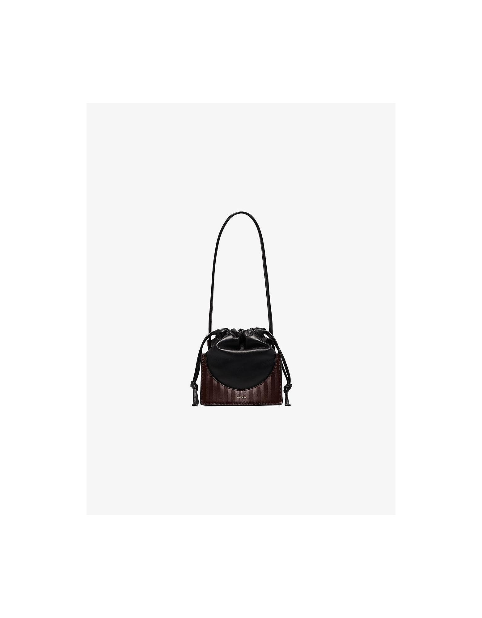 Yuzefi Designer Handbags, Black and Herringbone Pouchy Mini Bag