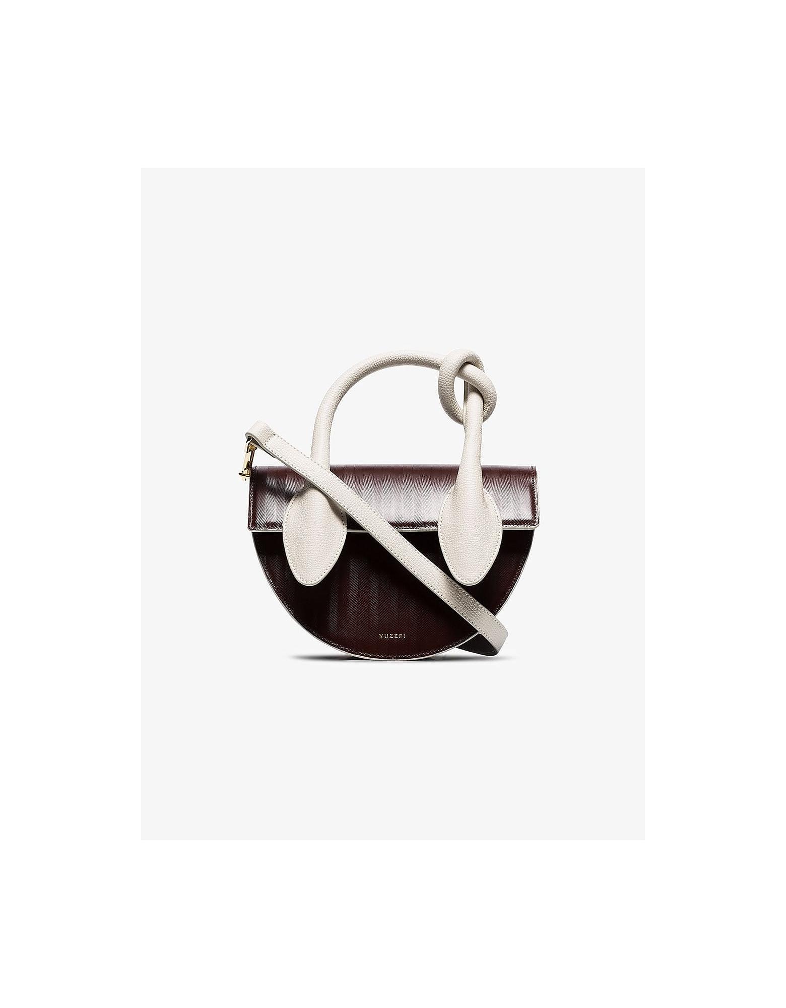 Yuzefi Designer Handbags, Brown & White Dolores Herringbone Leather Shoulder Bag