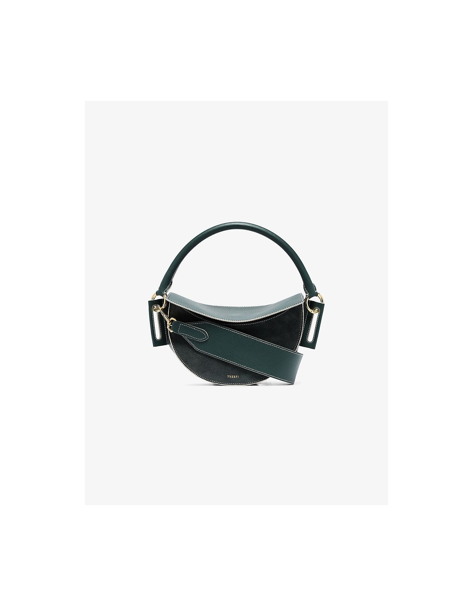 Yuzefi Designer Handbags, Pine Green Dip Leather Shoulder Bag