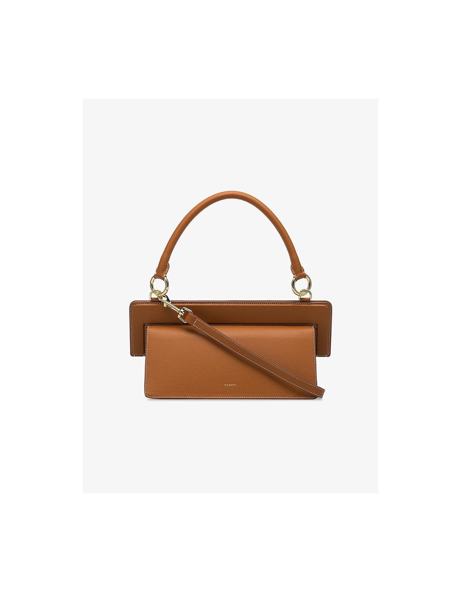 Yuzefi Designer Handbags, Brown Ada Leather Shoulder Bag