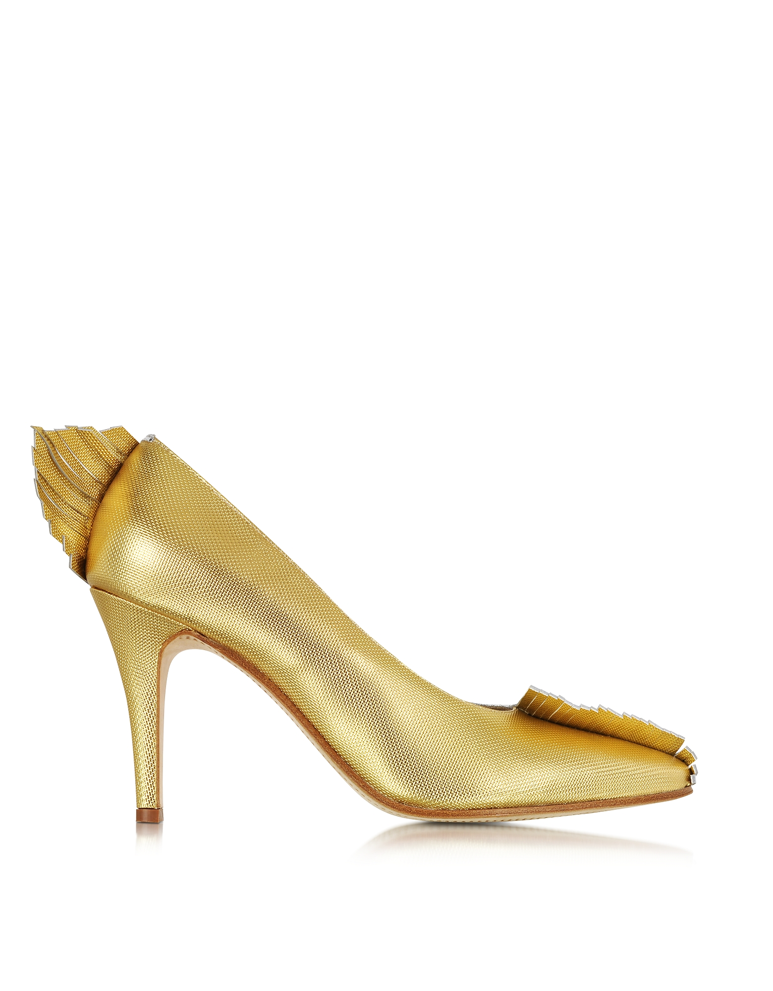 Ama- Двухцветные Туфли-Лодочки из Кожи Металлик с Бахромой
