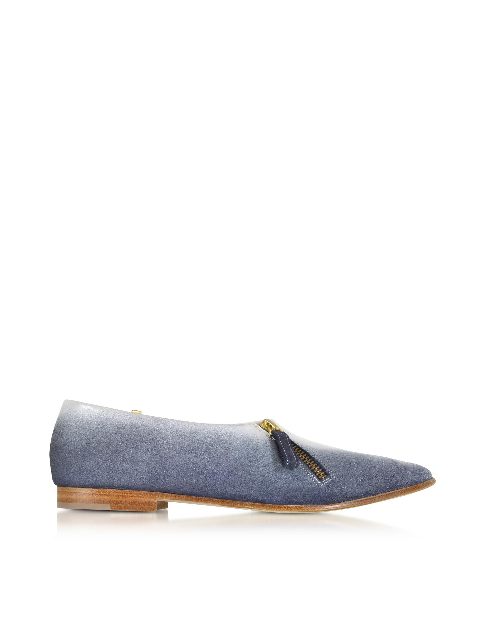 Lafayette Blue Suede and White Patent Leather Loafer - Zoe Lee